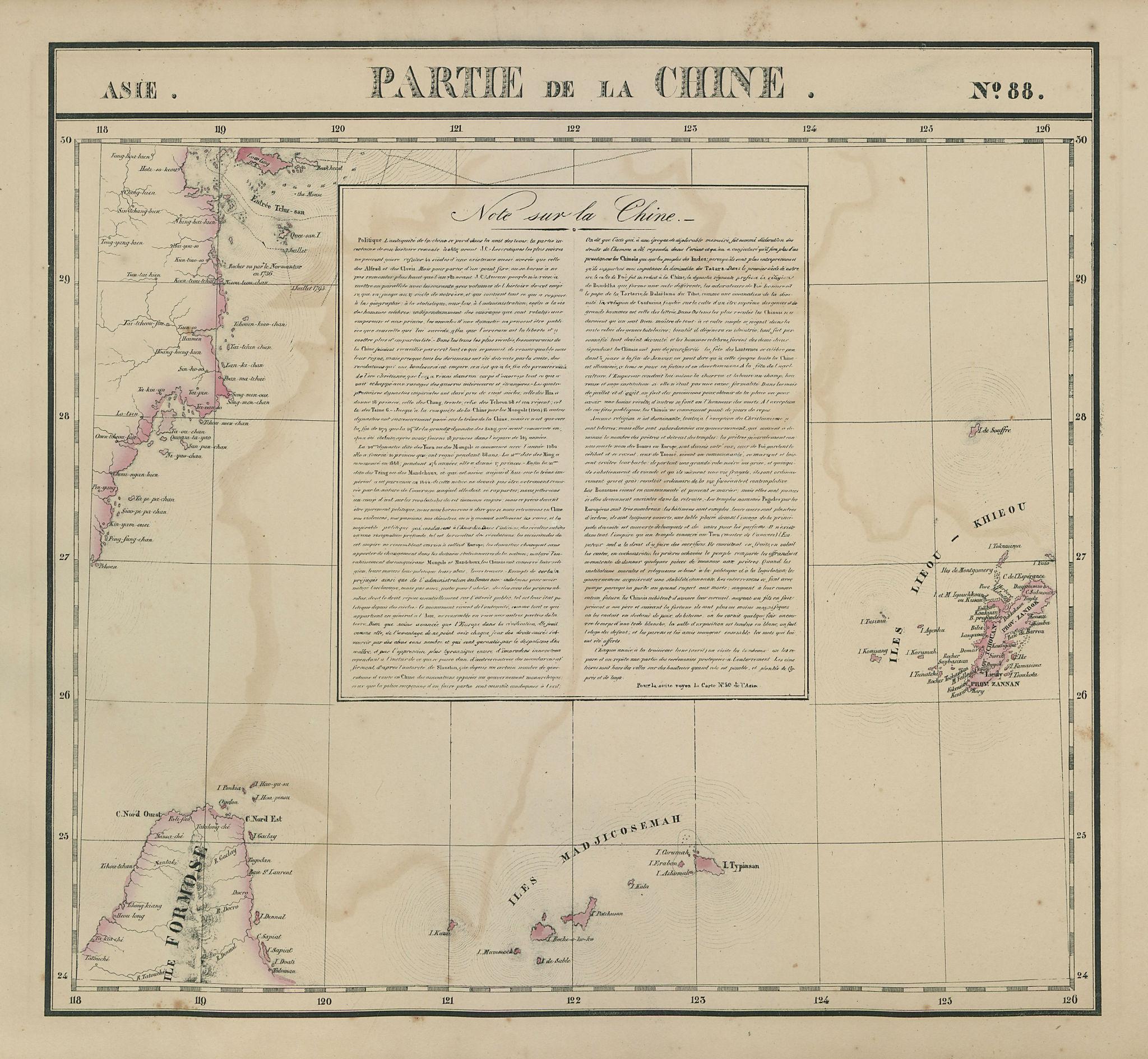 Asie. Partie de la Chine #88 Taiwan Okinawa Zhejiang China VANDERMAELEN 1827 map