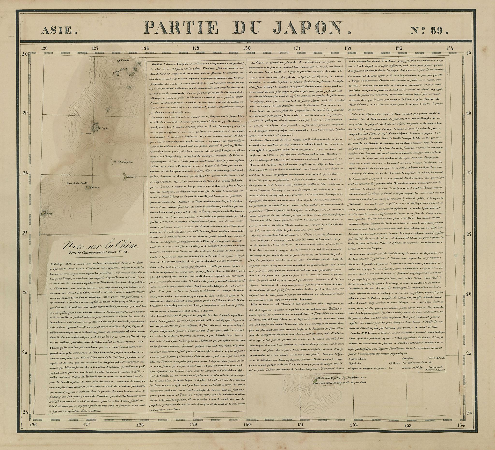 Asie. Partie du Japon #89 Amami/Ryukyu Islands Japan. VANDERMAELEN 1827 map