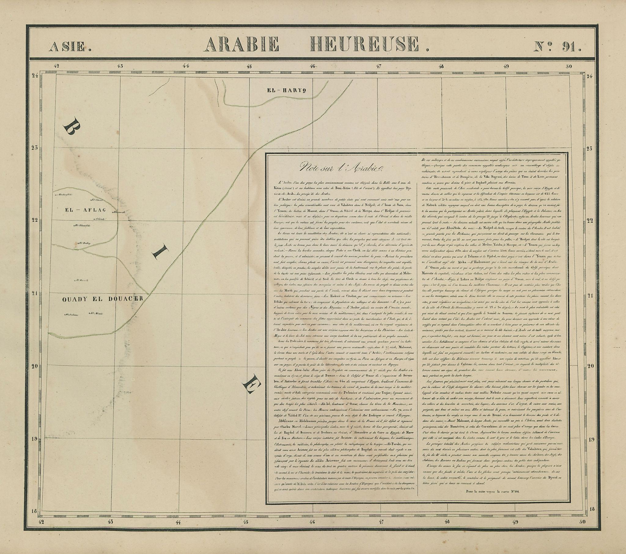 Asie. Arabie Heureuse #91 Saudi Arabia Empty Quarter. VANDERMAELEN 1827 map