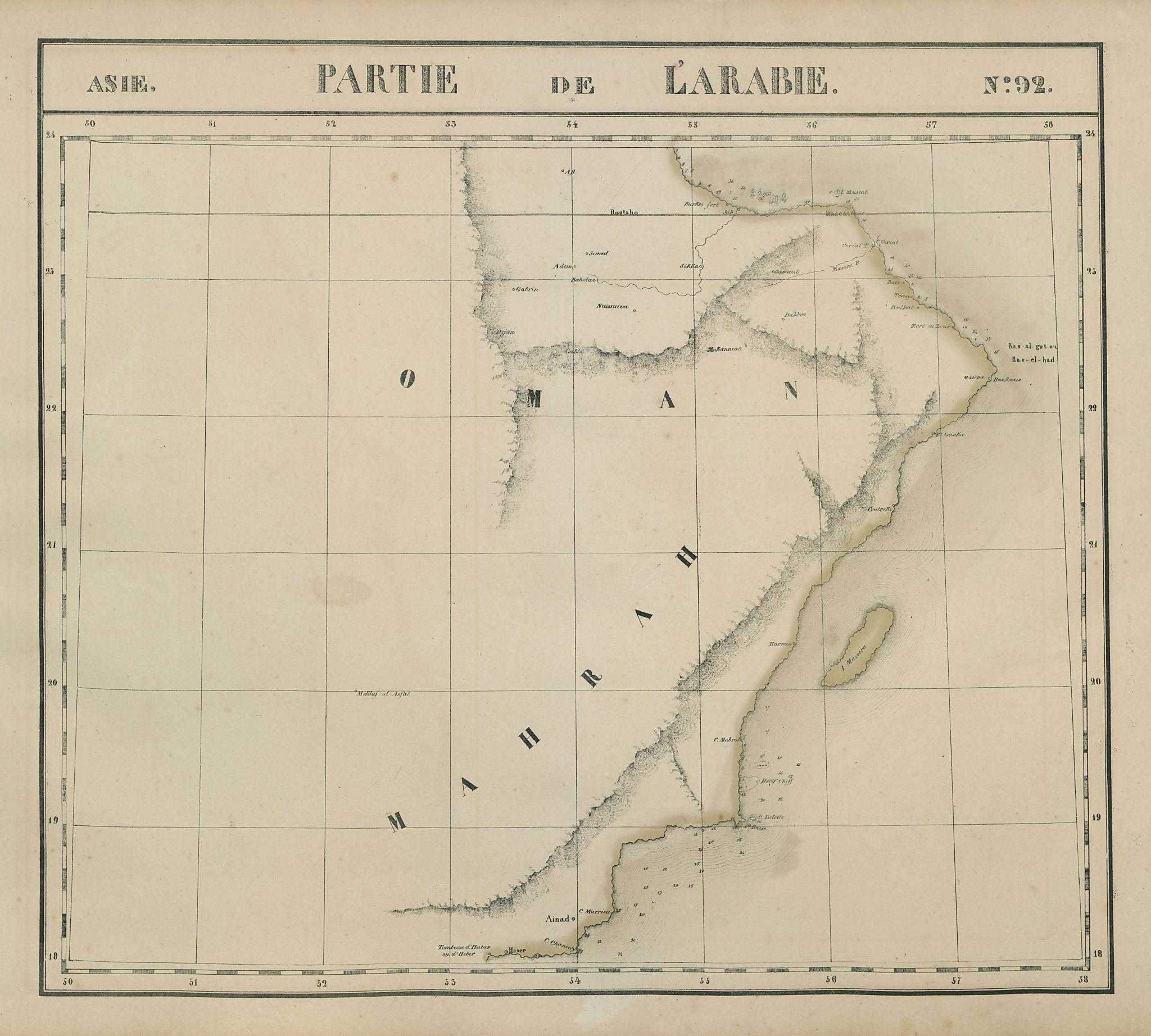 Asie. Partie de l'Arabie #92 Oman & SE Saudi Arabia VANDERMAELEN 1827 old map
