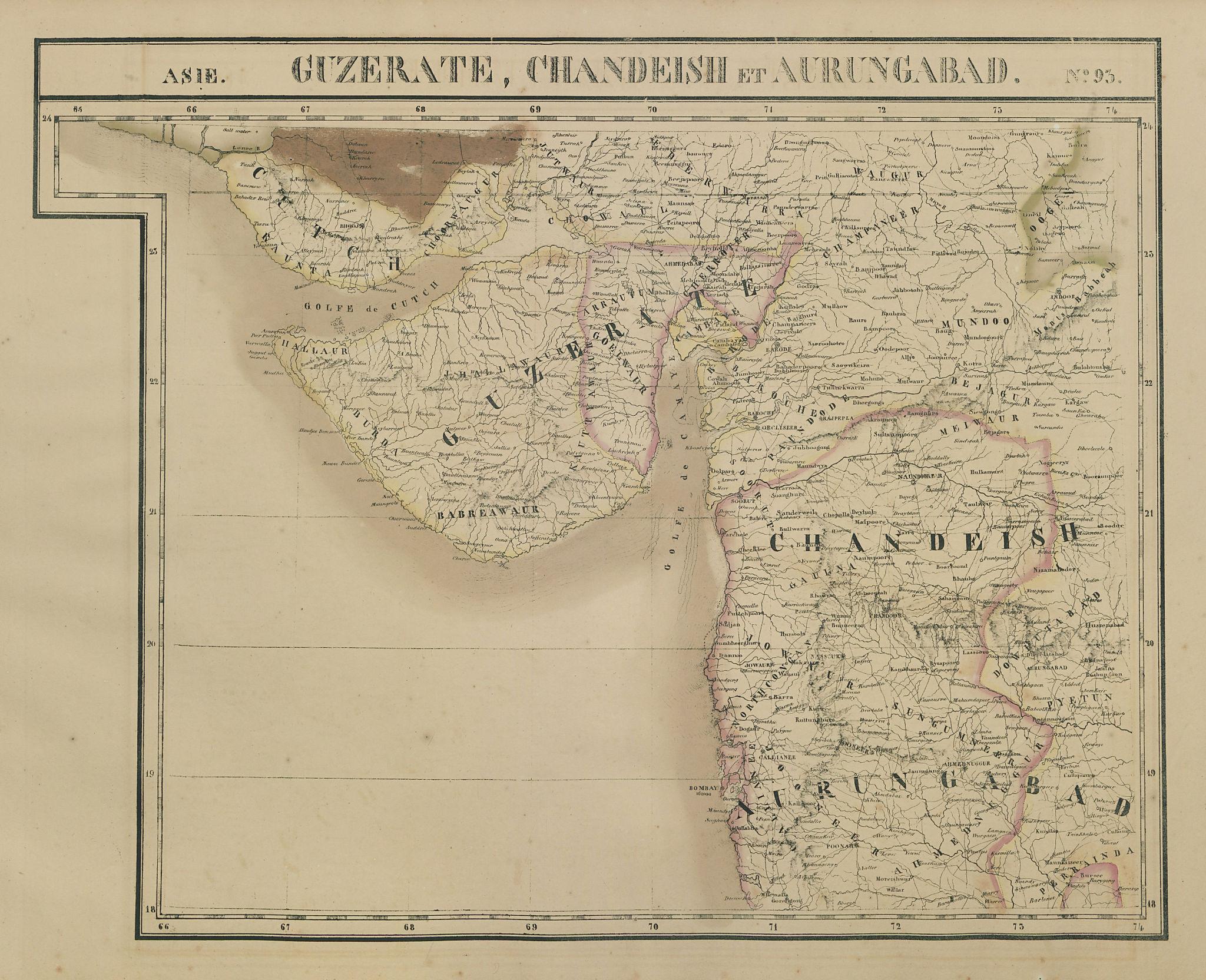 Asie Guzerate Chandeish Aurungabad 93 India Gujarat Mumbai VANDERMAELEN 1827 map