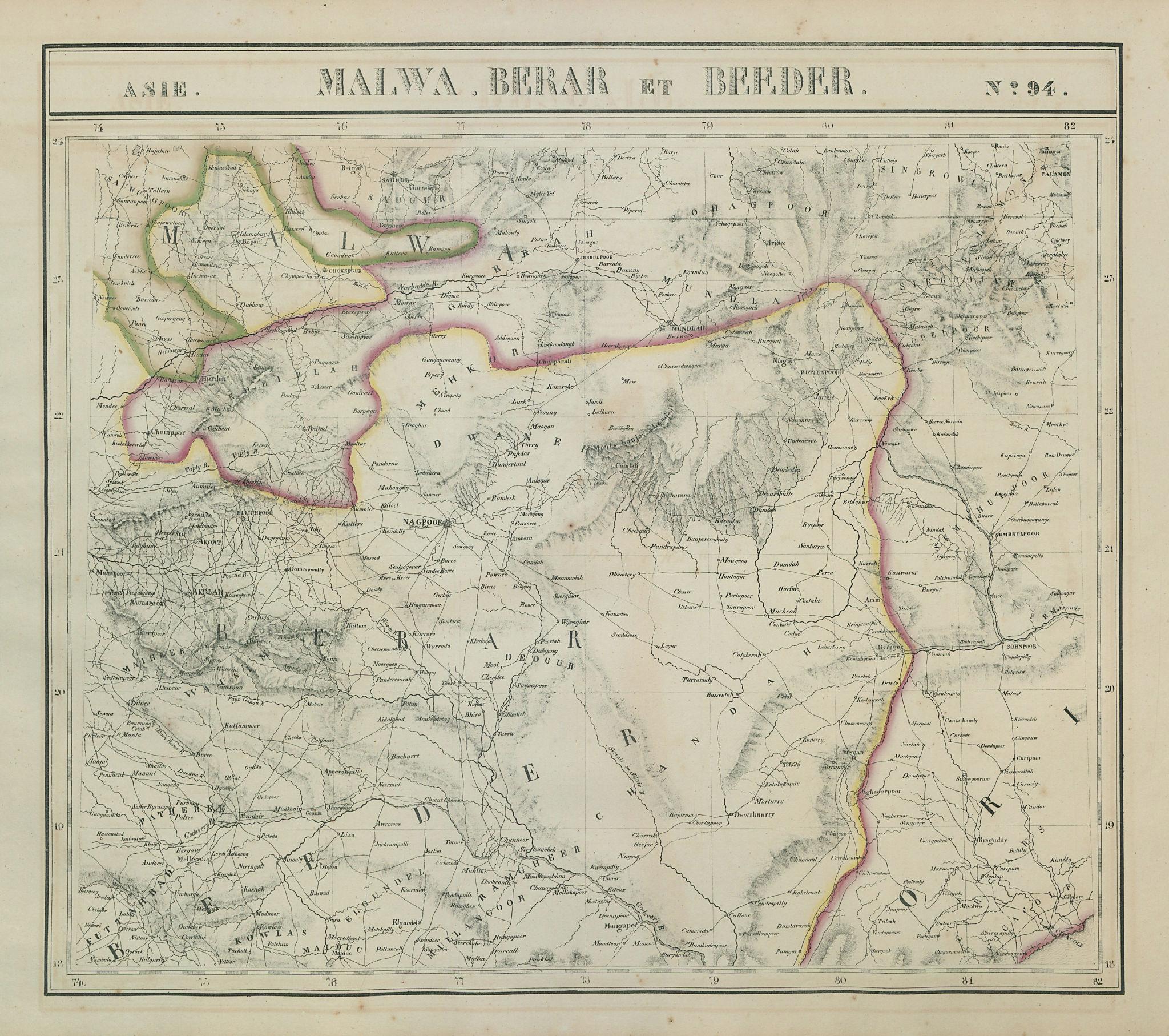 Asie. Malwa, Berar & Beeder #94 Central India Chhattisgarh VANDERMAELEN 1827 map