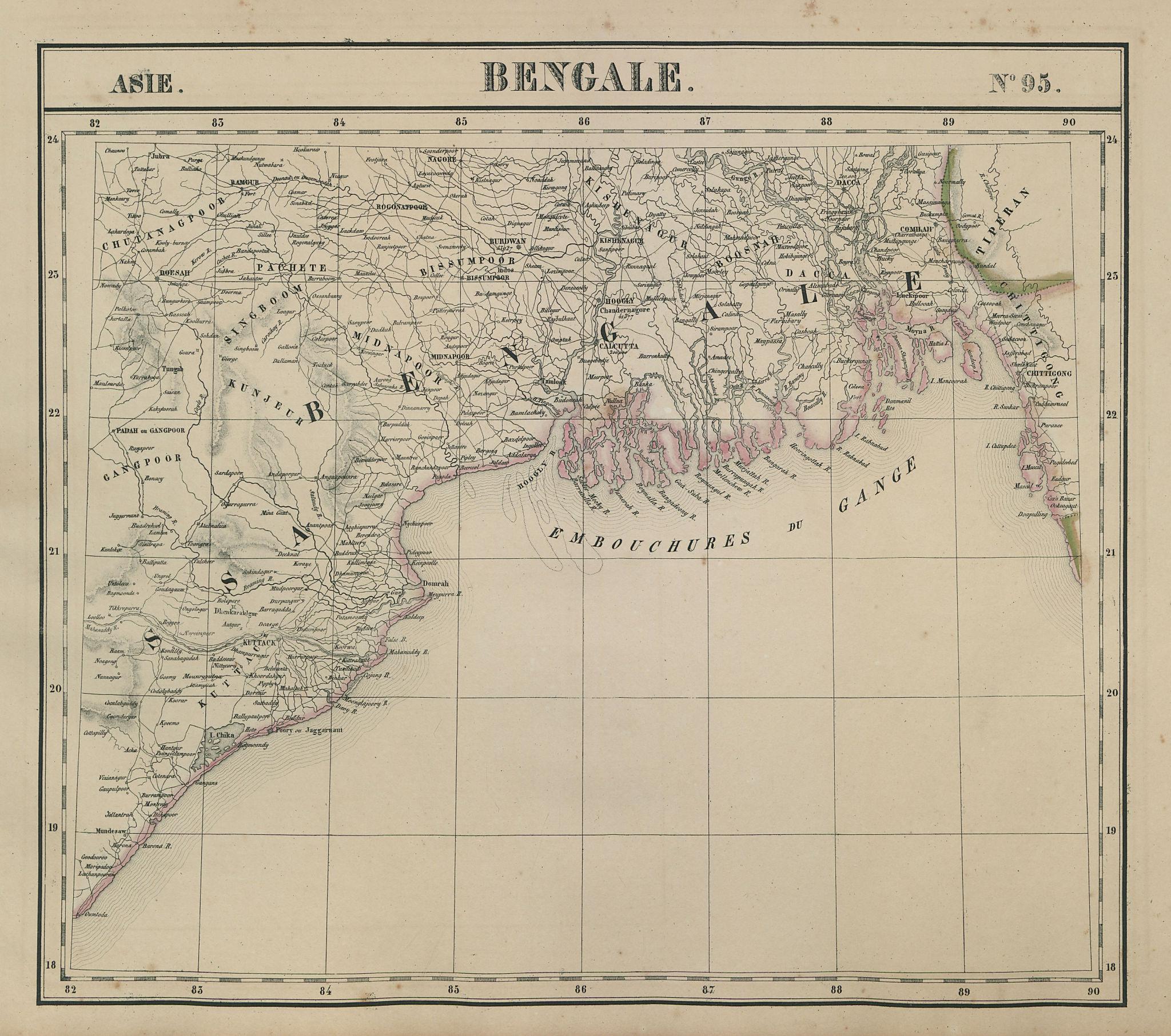 Asie. Bengale #95 Bangladesh West Bengal Odisha India. VANDERMAELEN 1827 map