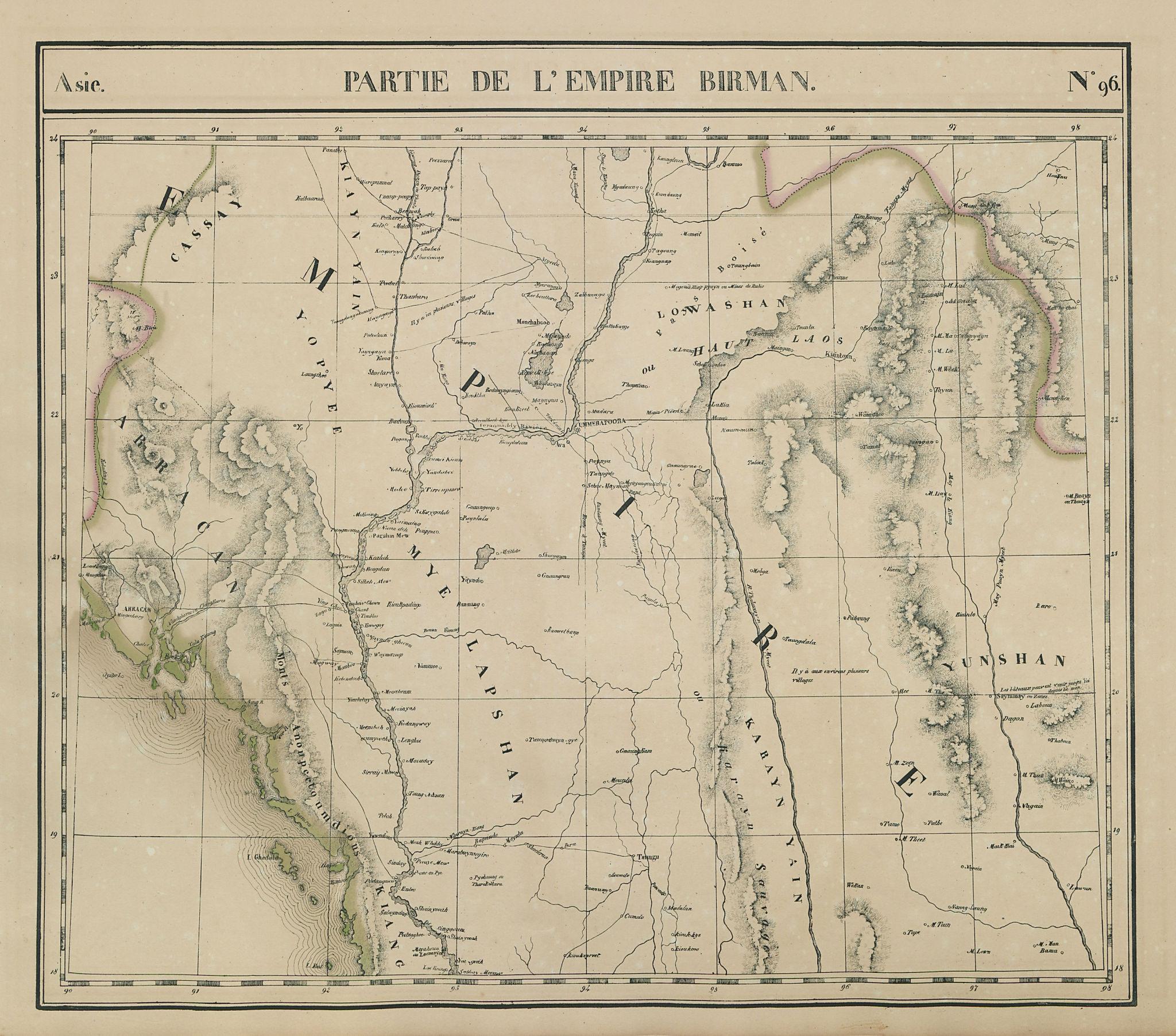 Asie. Empire Birman #96 Western Burma & North Thailand. VANDERMAELEN 1827 map