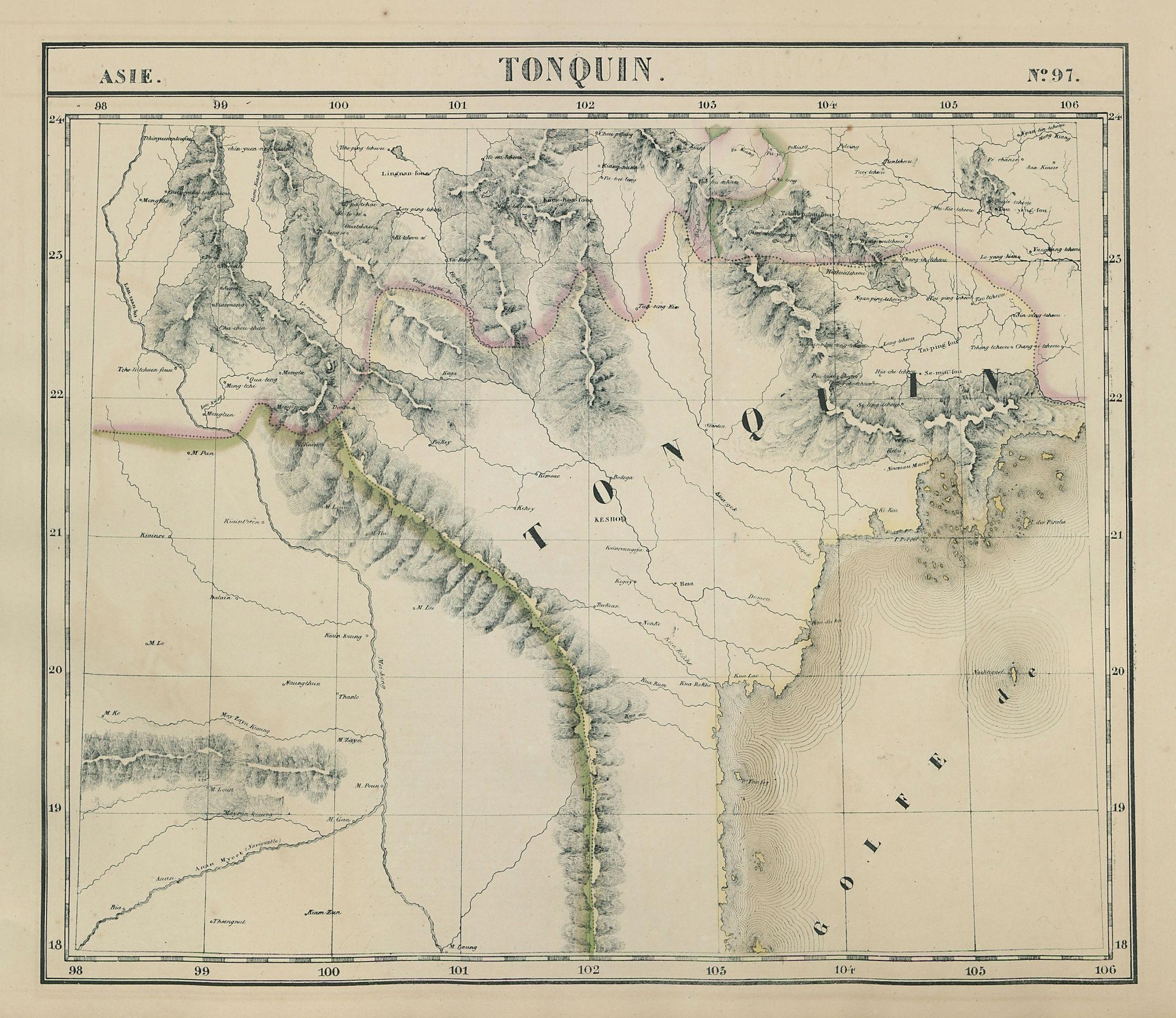 Asie. Tonquin #97 Northern Laos & Vietnam. Southern Yunnan VANDERMAELEN 1827 map