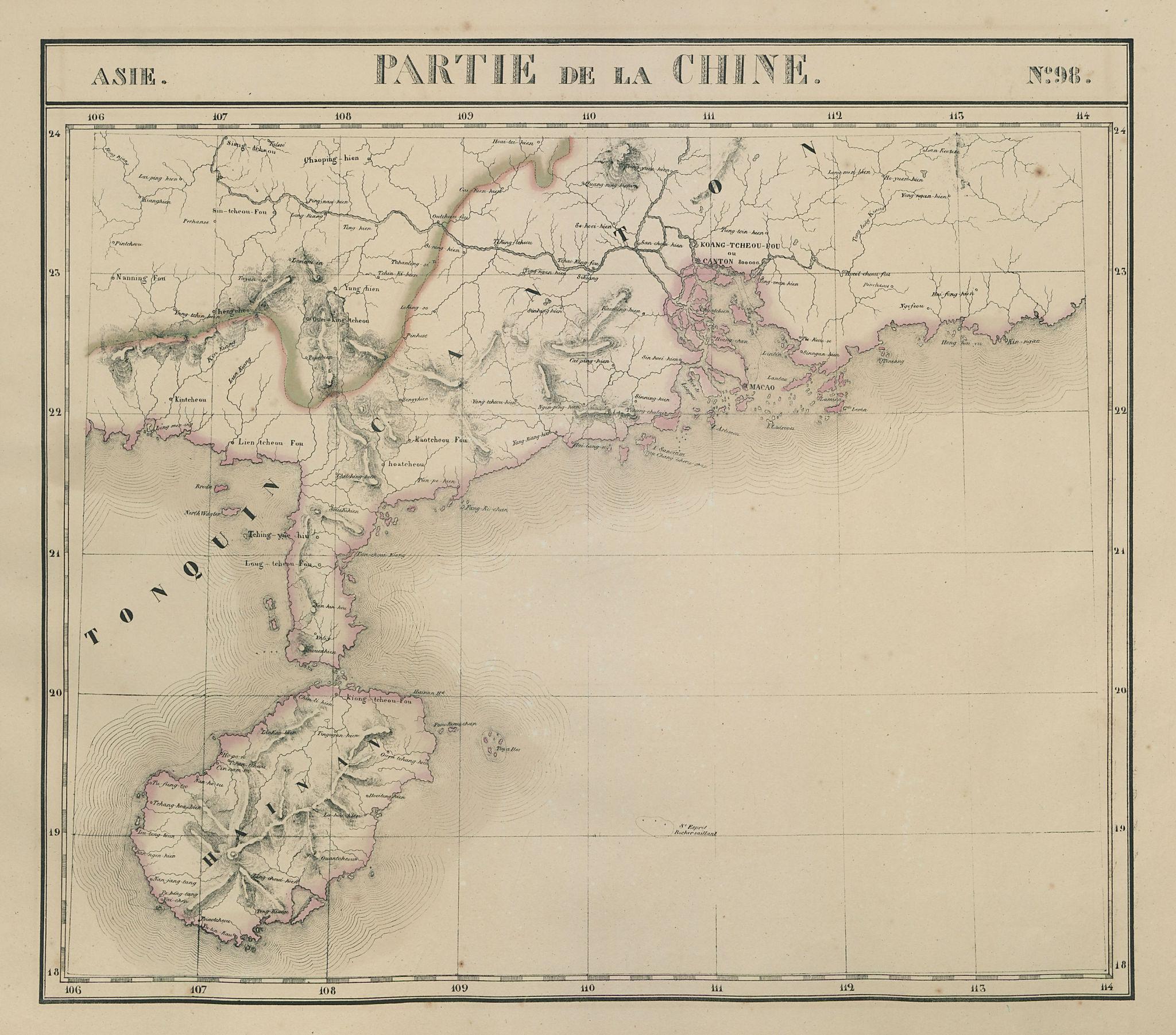 Asie. Chine #98 China Hainan Guangdong Guangxi. VANDERMAELEN 1827 old map