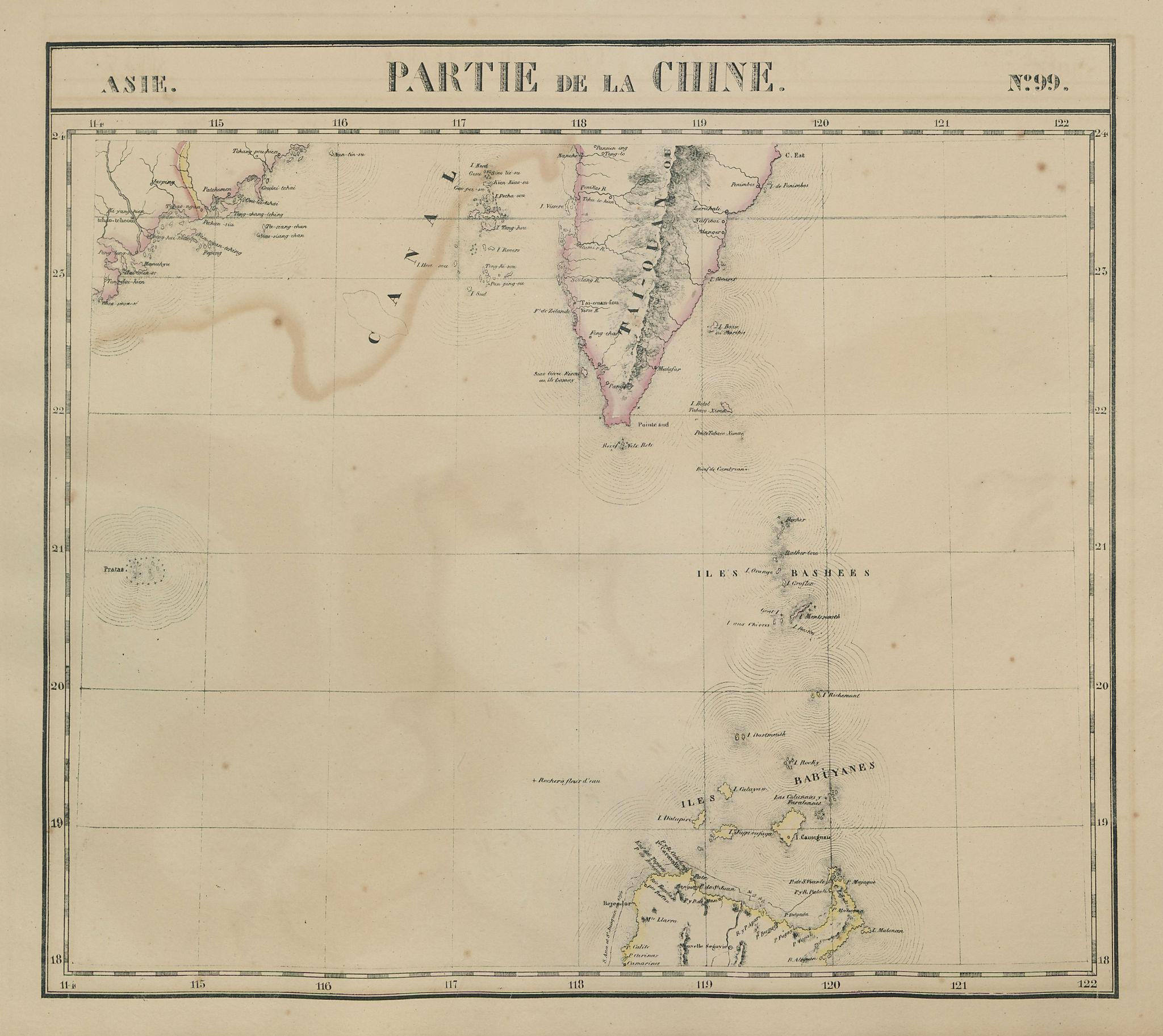 Asie. Chine #99 Philippines Taiwan Luzon Guangdong Fujian VANDERMAELEN 1827 map