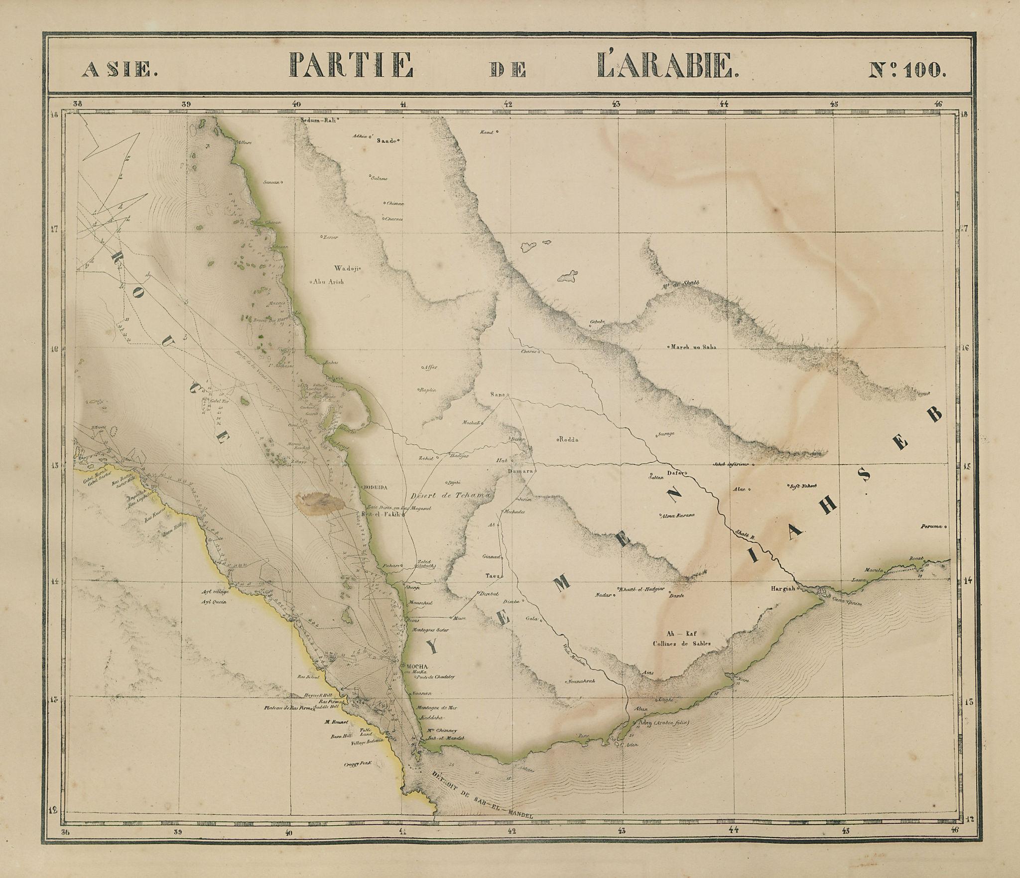Asie. Arabie #100 Yemen Djibouti Eritrea Saudi Arabia VANDERMAELEN 1827 map