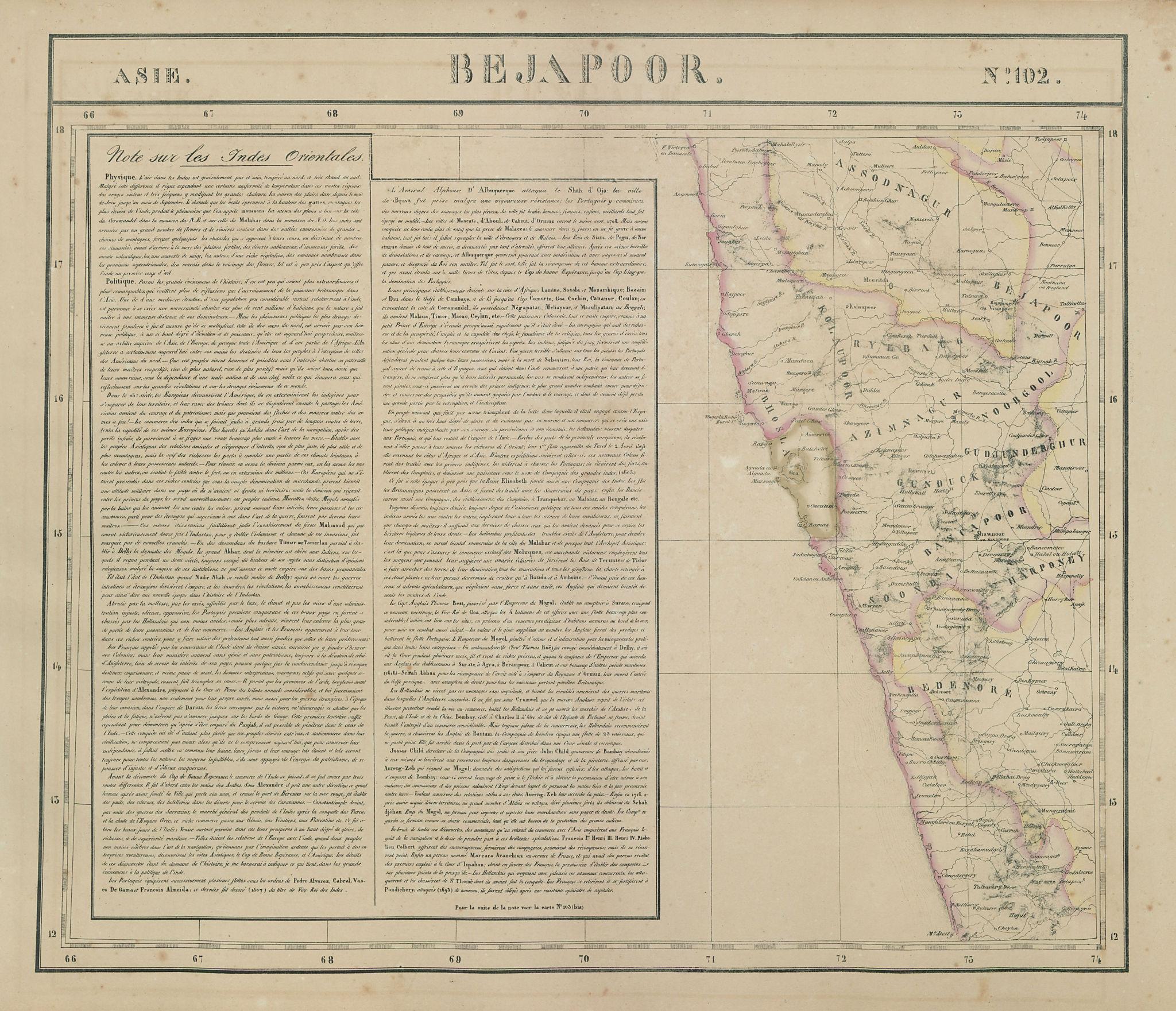 Asie. Bejapoor #102 SW India Maharashtra Goa Karnataka. VANDERMAELEN 1827 map