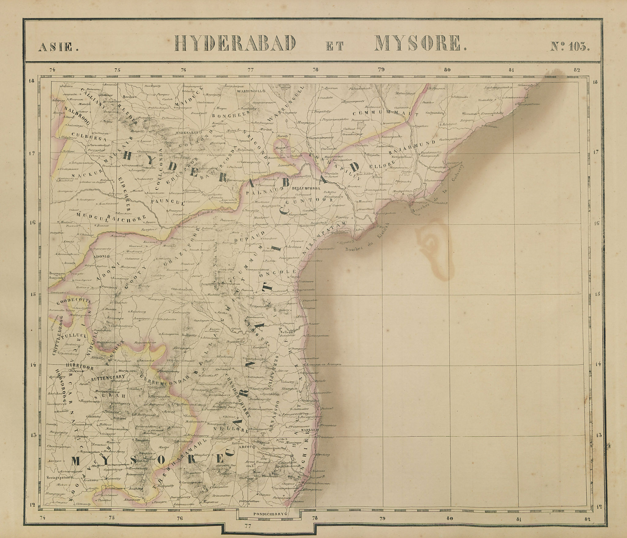 Asie. Hyderabad Mysore #103 India Andhra Pradesh Telangana VANDERMAELEN 1827 map
