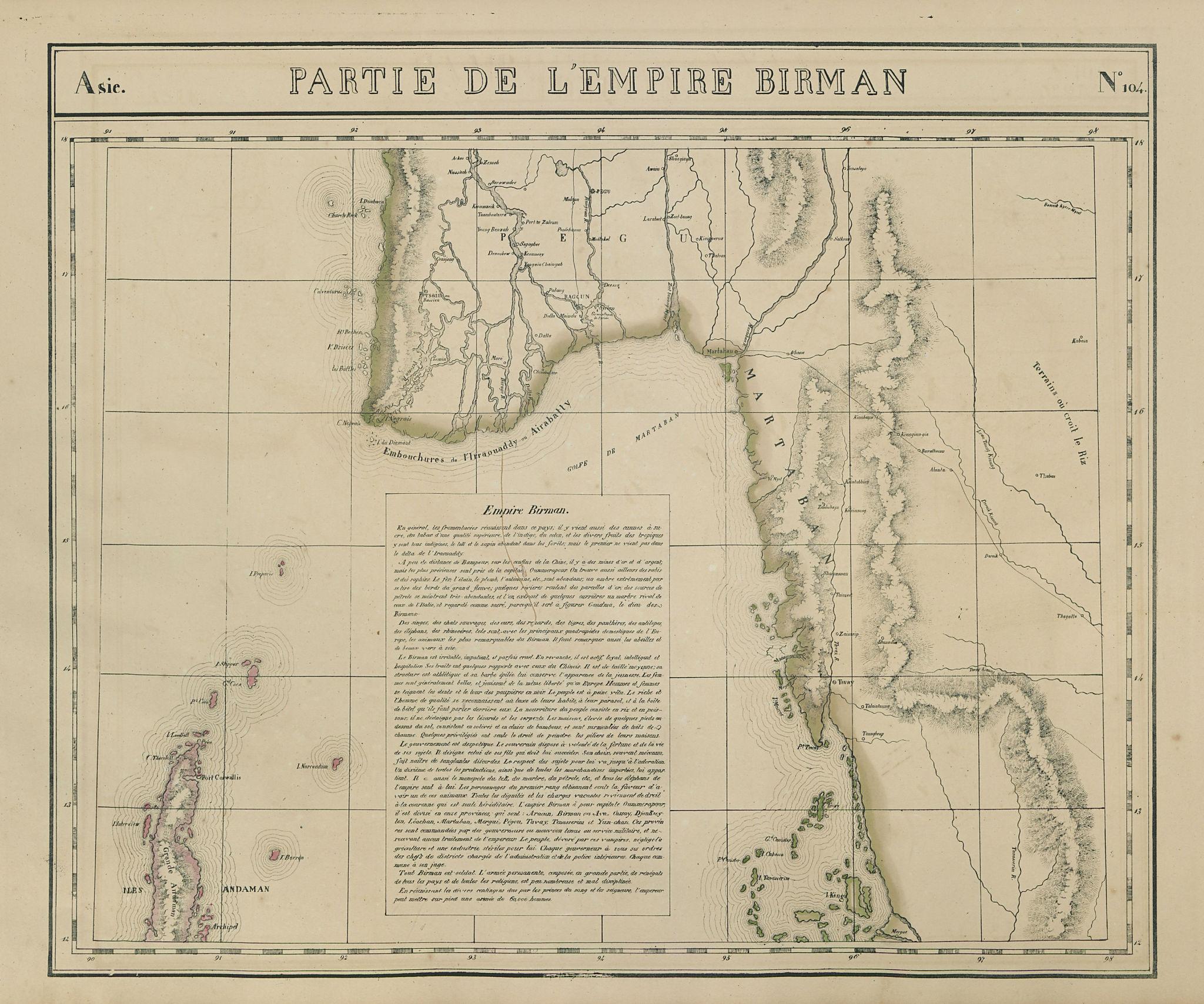 Asie. Empire Birman #104 Burma Myanmar Andaman Thailand. VANDERMAELEN 1827 map