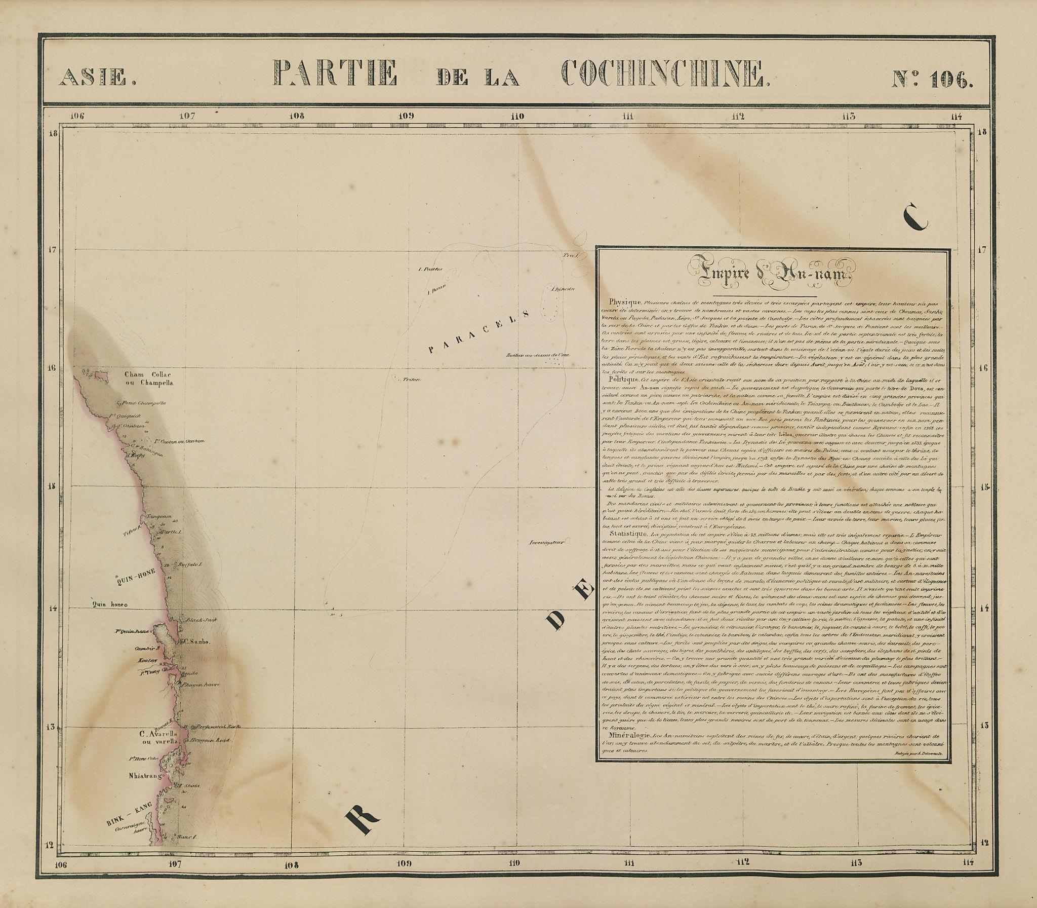 Asie. Cochinchine #106 Vietnam coast & Paracel Islands. VANDERMAELEN 1827 map