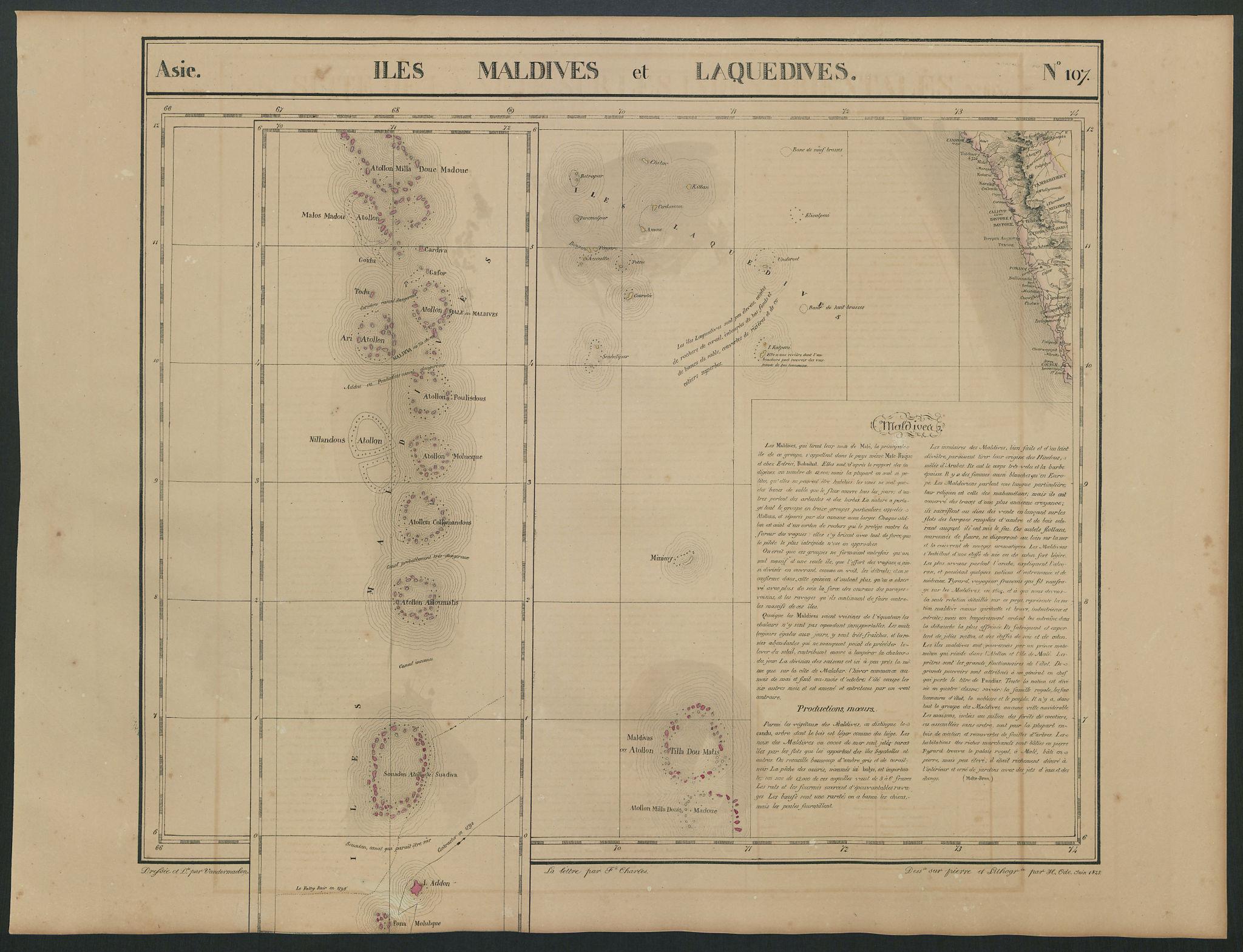 Asie. Iles Maldives Laquedives 107 India Kerala Laccadives VANDERMAELEN 1827 map