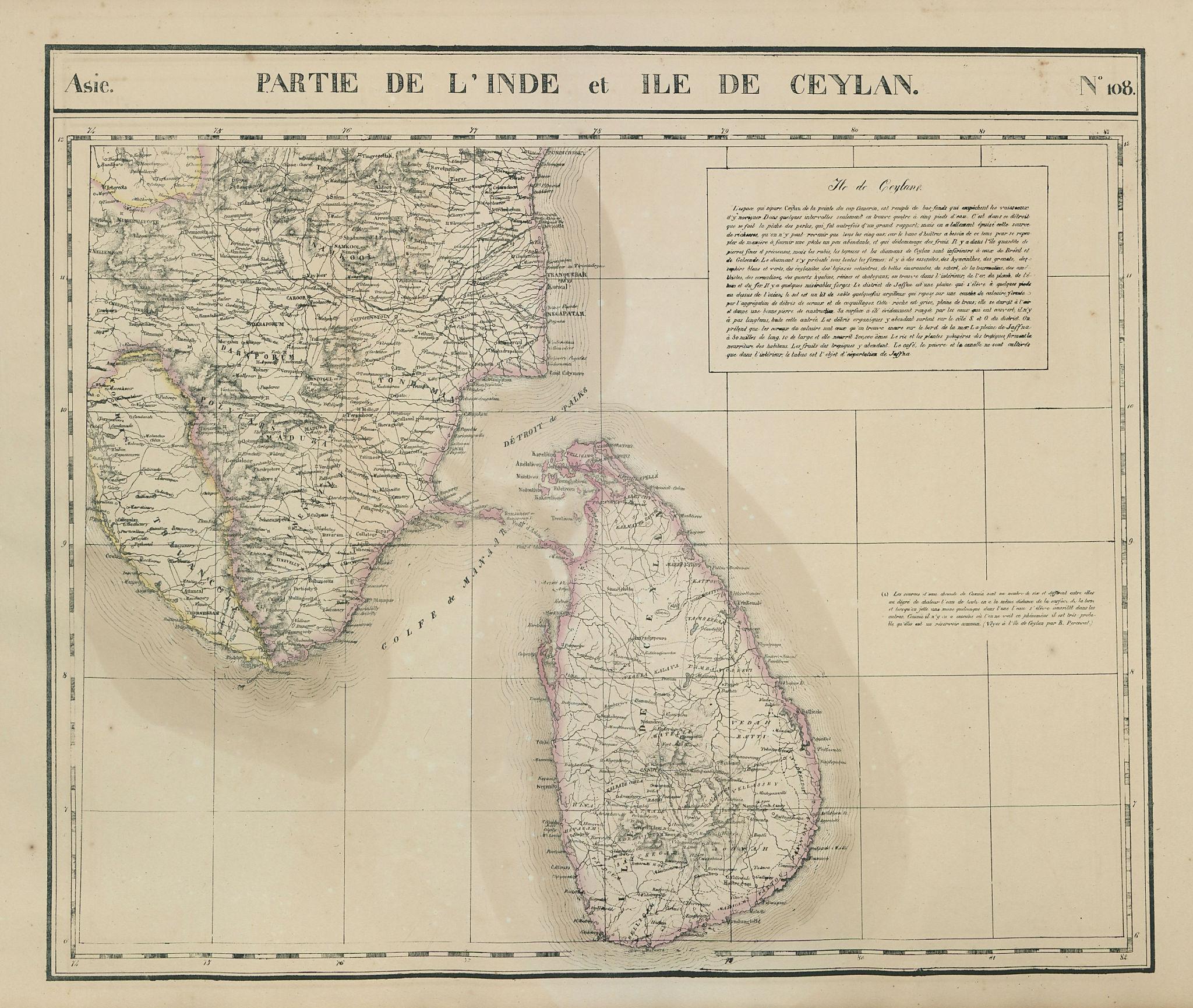 Asie. Inde & Ceylan #108 India Sri Lanka Kerala Tamil Nadu VANDERMAELEN 1827 map