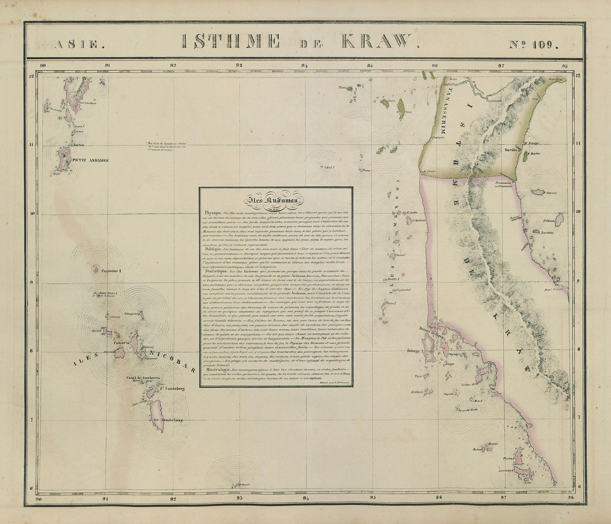 Asie. Isthme de Kraw #109 Thailand Phuket Burma Nicobar VANDERMAELEN 1827 map