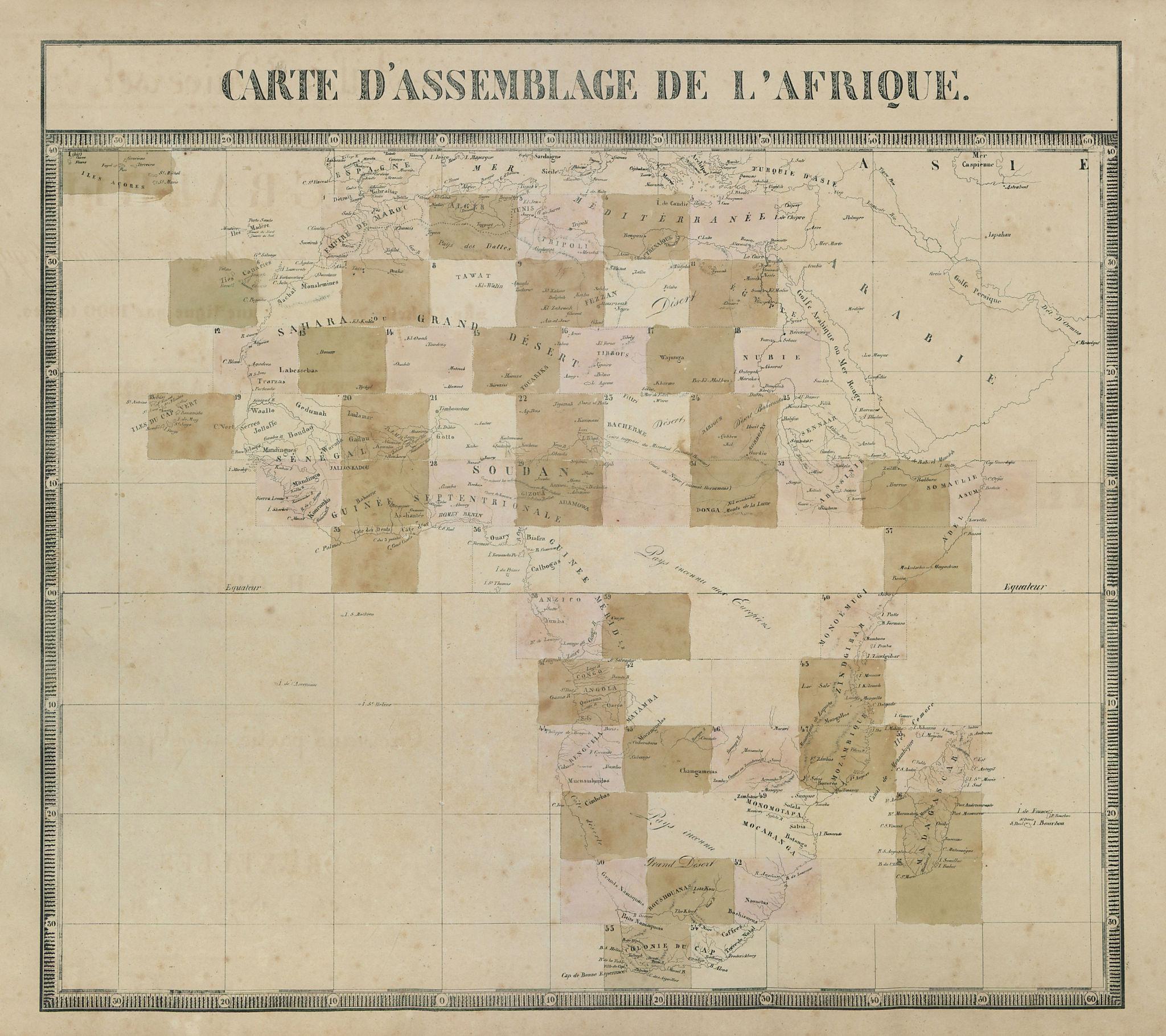 Carte d'Assemblage de l'Afrique. Africa. Unknown lands. VANDERMAELEN 1827 map