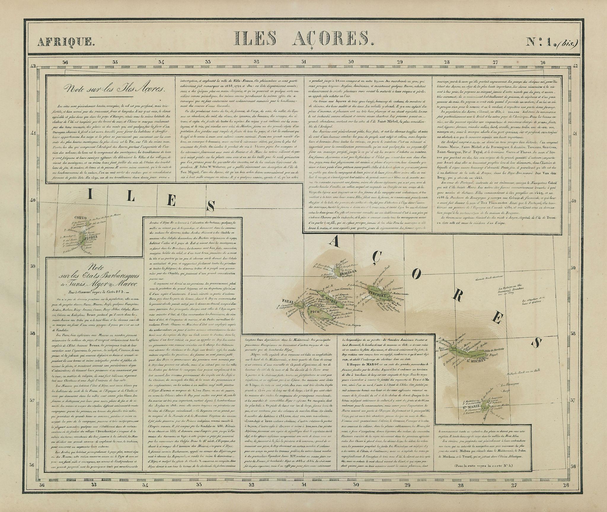Afrique. Iles Açores #1 bis. Azores archipelago. Atlantic. VANDERMAELEN 1827 map