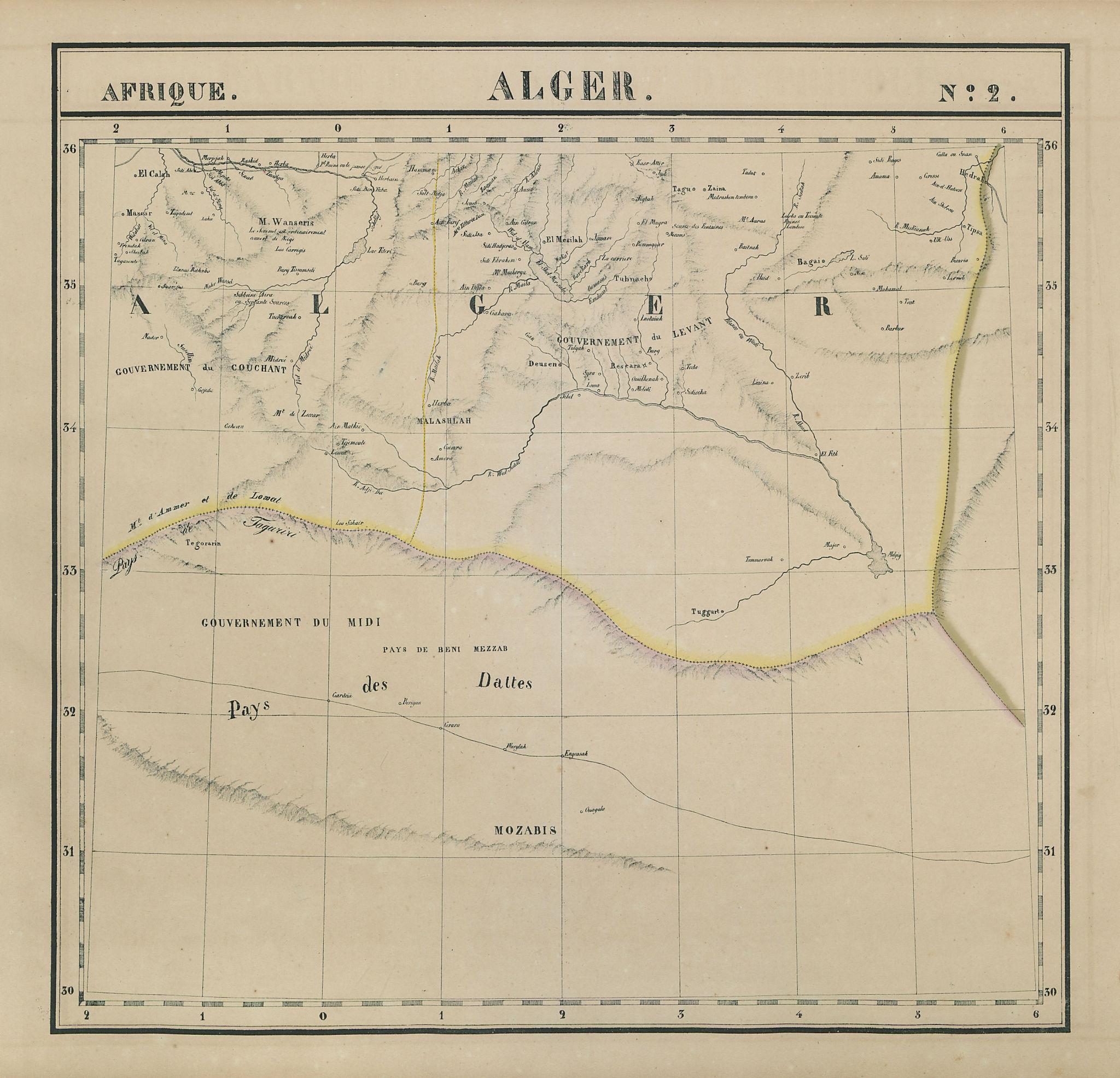 Afrique. Alger #2. Algeria interior. VANDERMAELEN 1827 old antique map chart