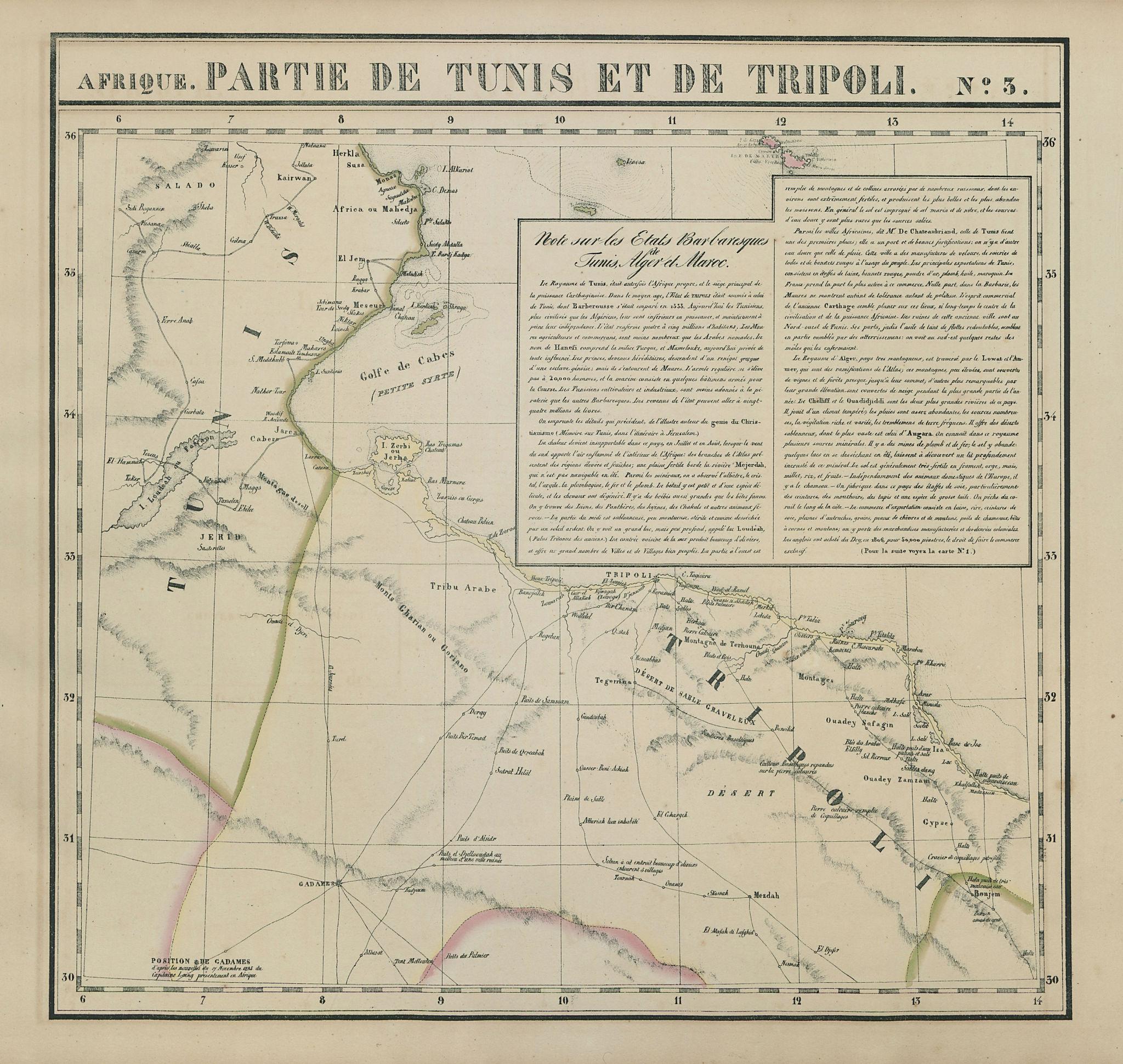 Afrique. Partie de Tunis et de Tripoli #3. Tunisia & Libya VANDERMAELEN 1827 map