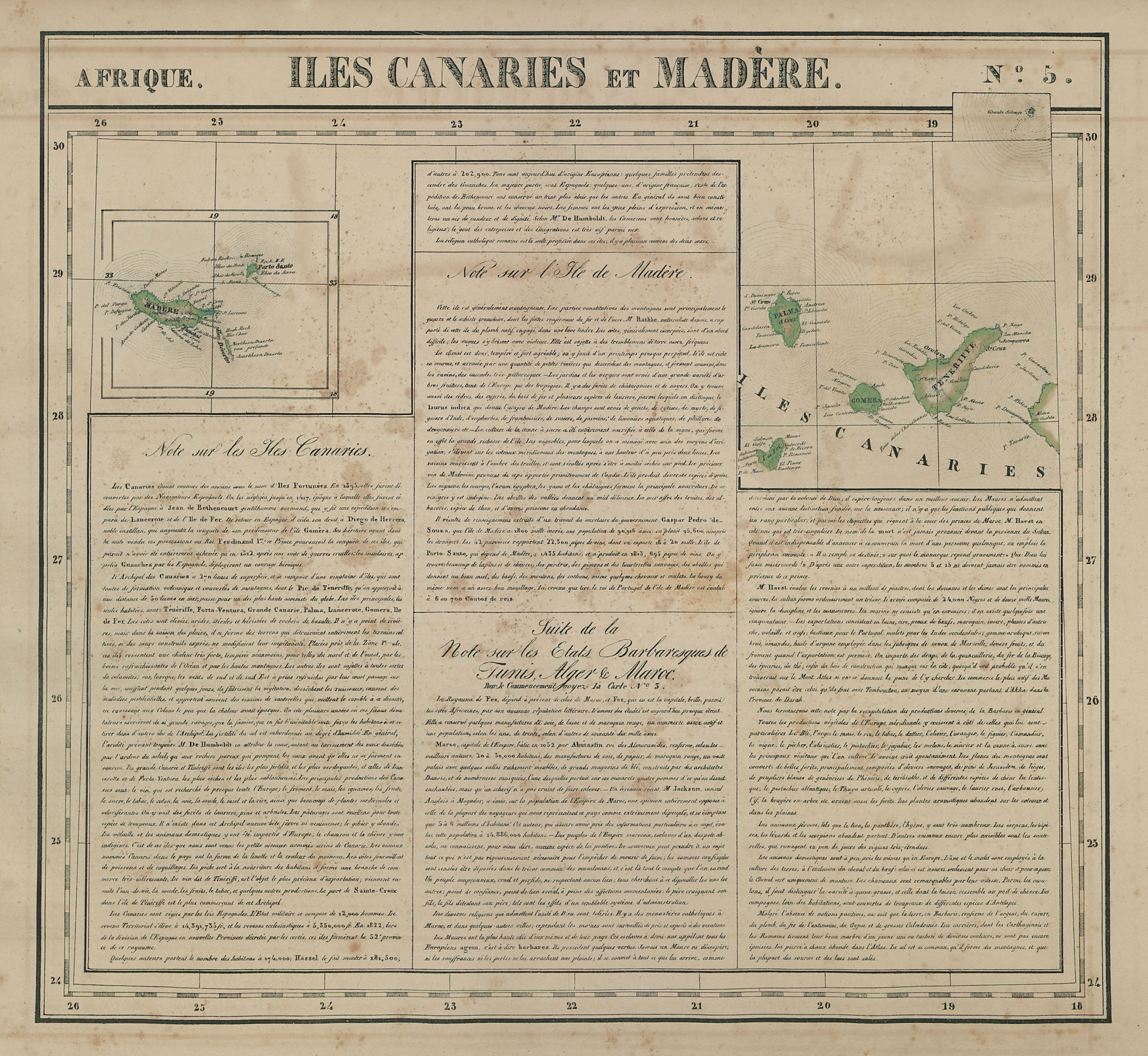 Afrique. Iles Canaries et Madère #5 Canary Islands Madeira VANDERMAELEN 1827 map