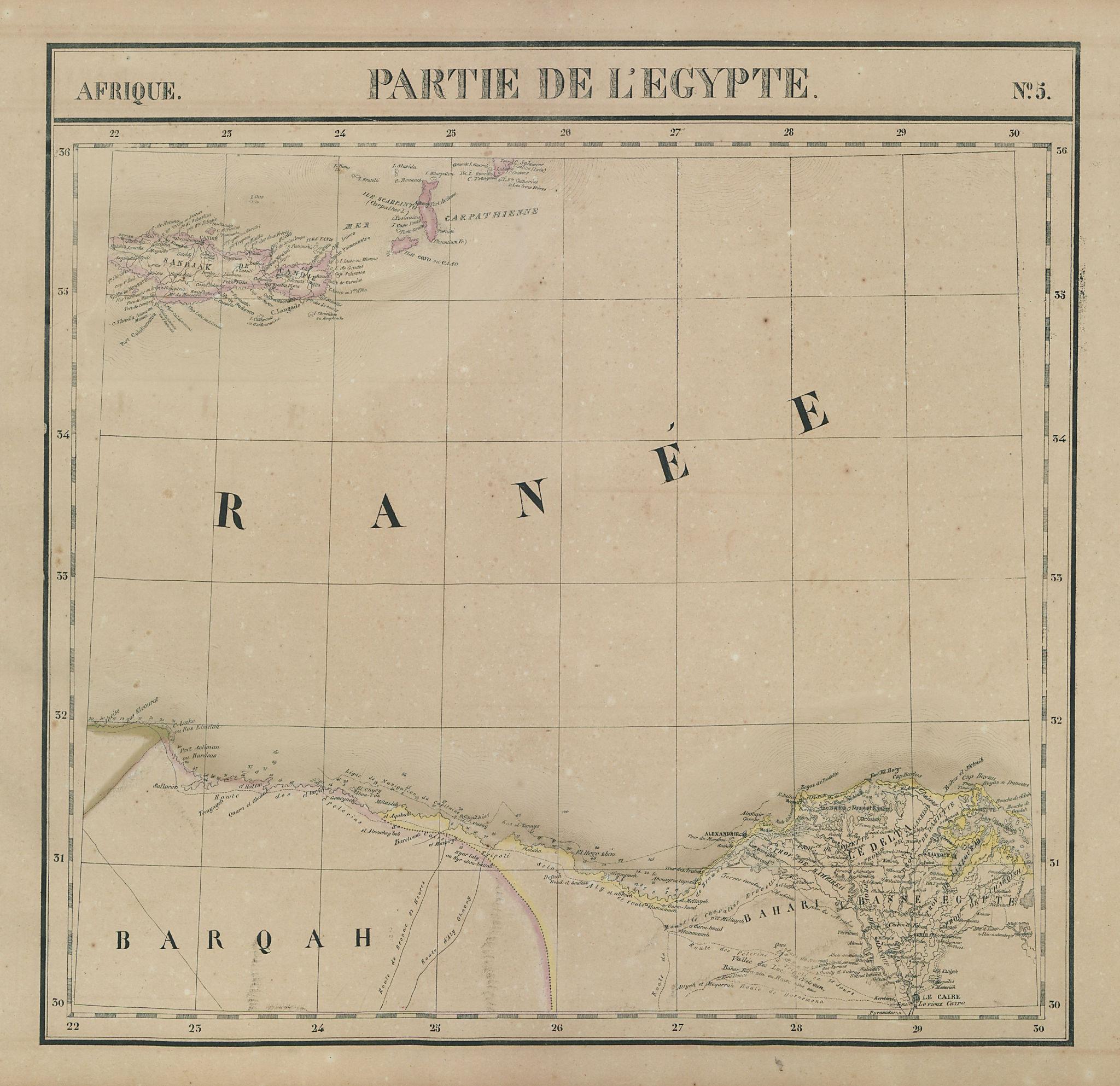 Afrique. Partie de l'Egypte #5 Nile delta. Crete Karpathos VANDERMAELEN 1827 map