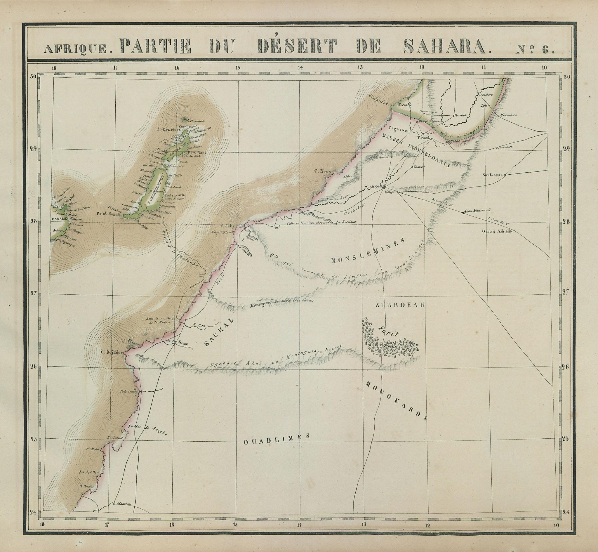 Afrique. Partie du Désert de Sahara #6. Canary Islands. VANDERMAELEN 1827 map