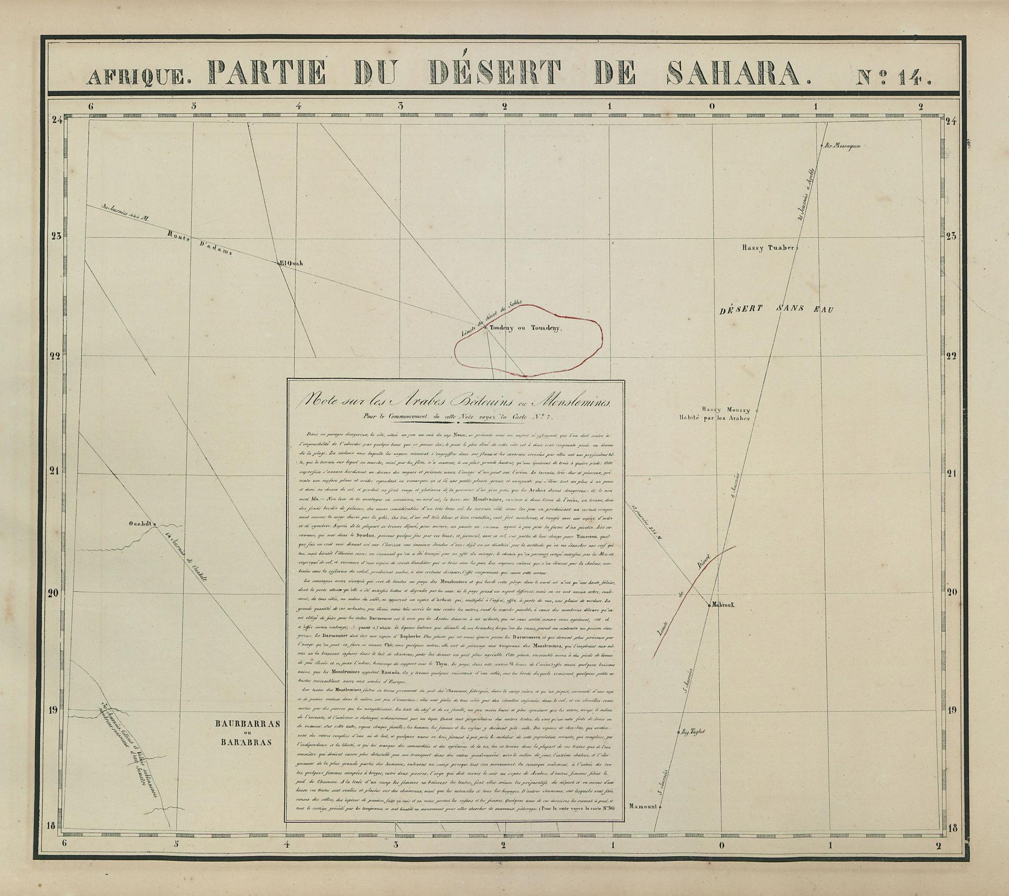 Afrique. Partie du Désert de Sahara #14. Algeria Mali. VANDERMAELEN 1827 map