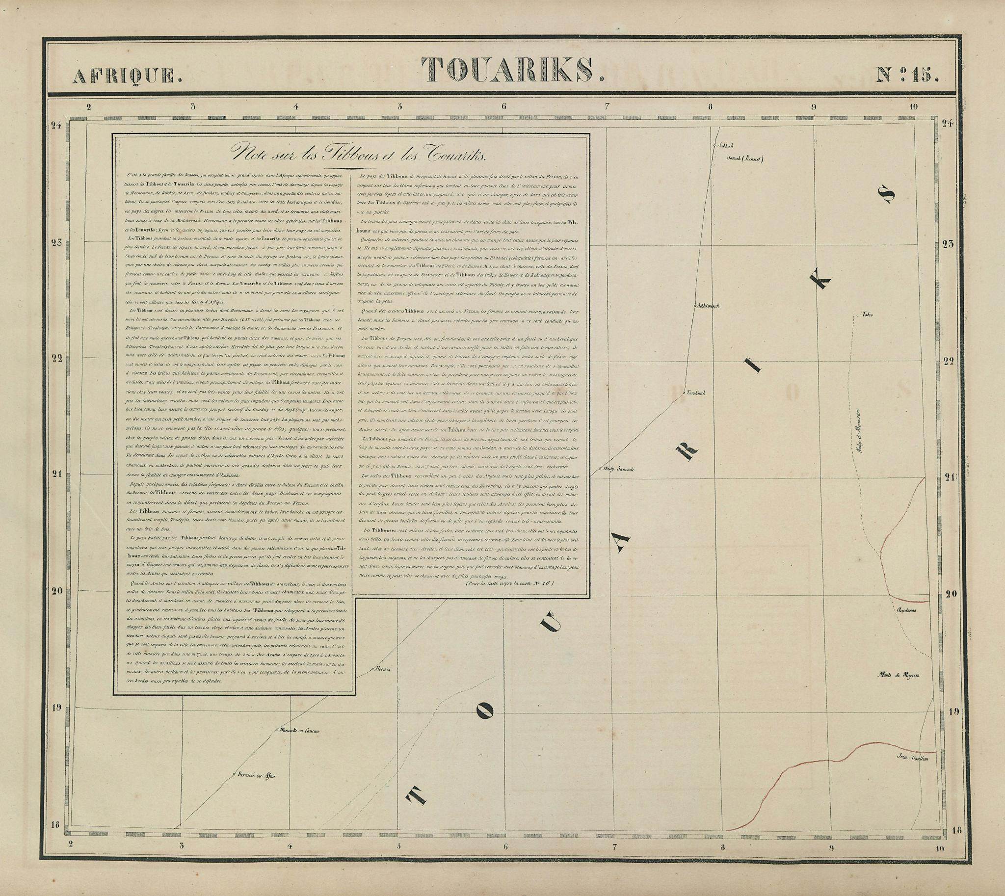 Afrique. Touariks #15. Sahara in SE Niger & Northern Niger VANDERMAELEN 1827 map