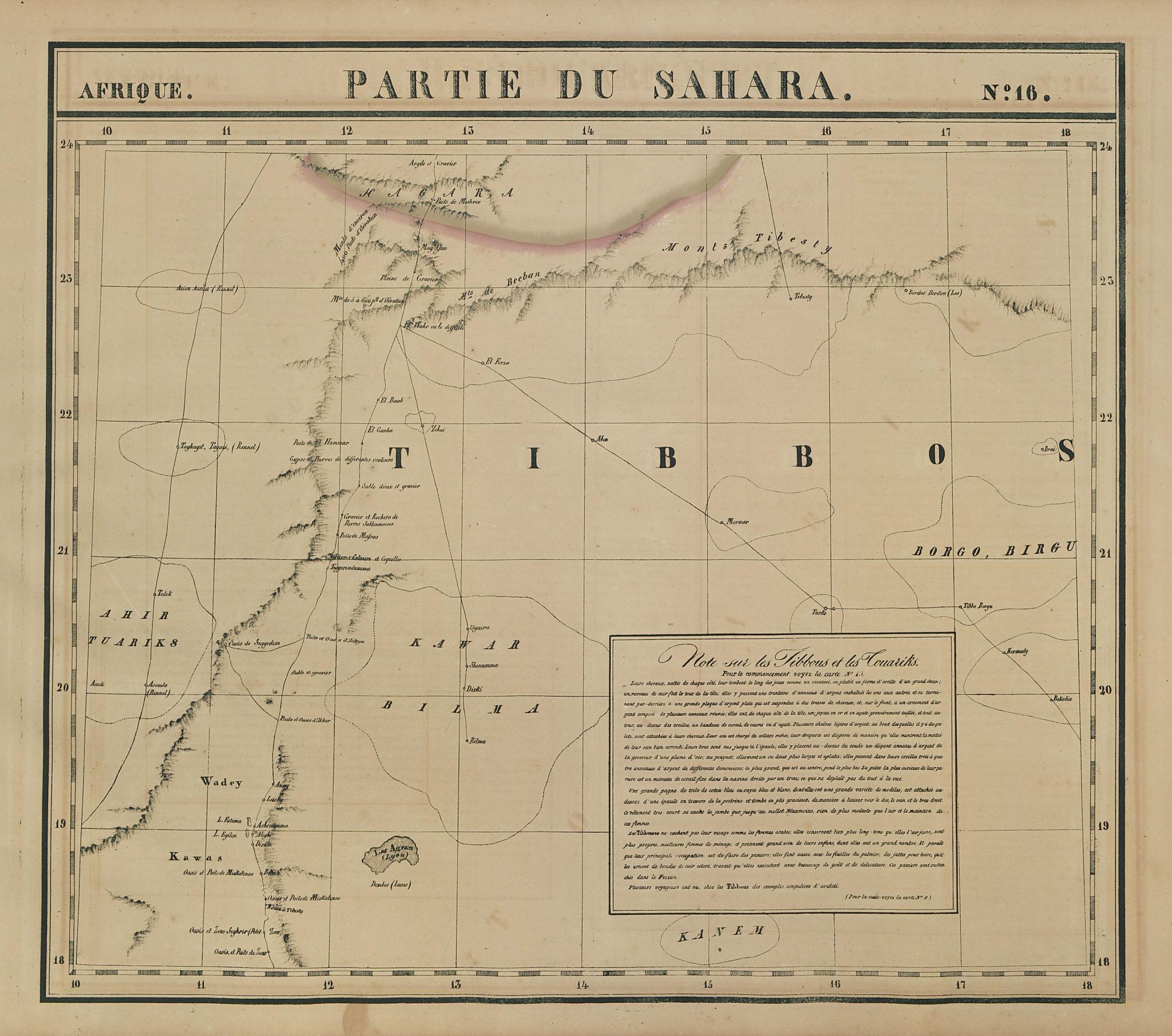 Afrique. Partie du Sahara #16. Niger & Chad Libya. VANDERMAELEN 1827 old map