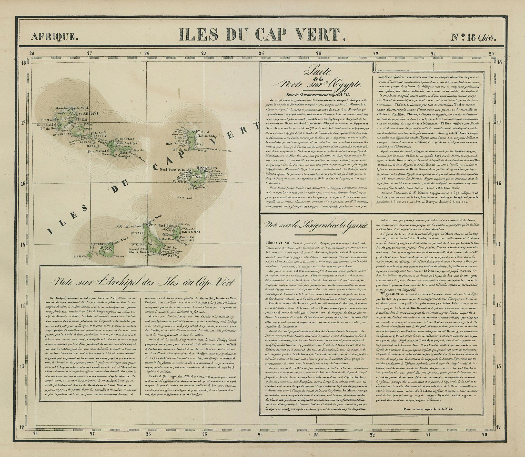 Afrique. Iles du Cap Vert #18 bis. Cape Verde Islands. VANDERMAELEN 1827 map
