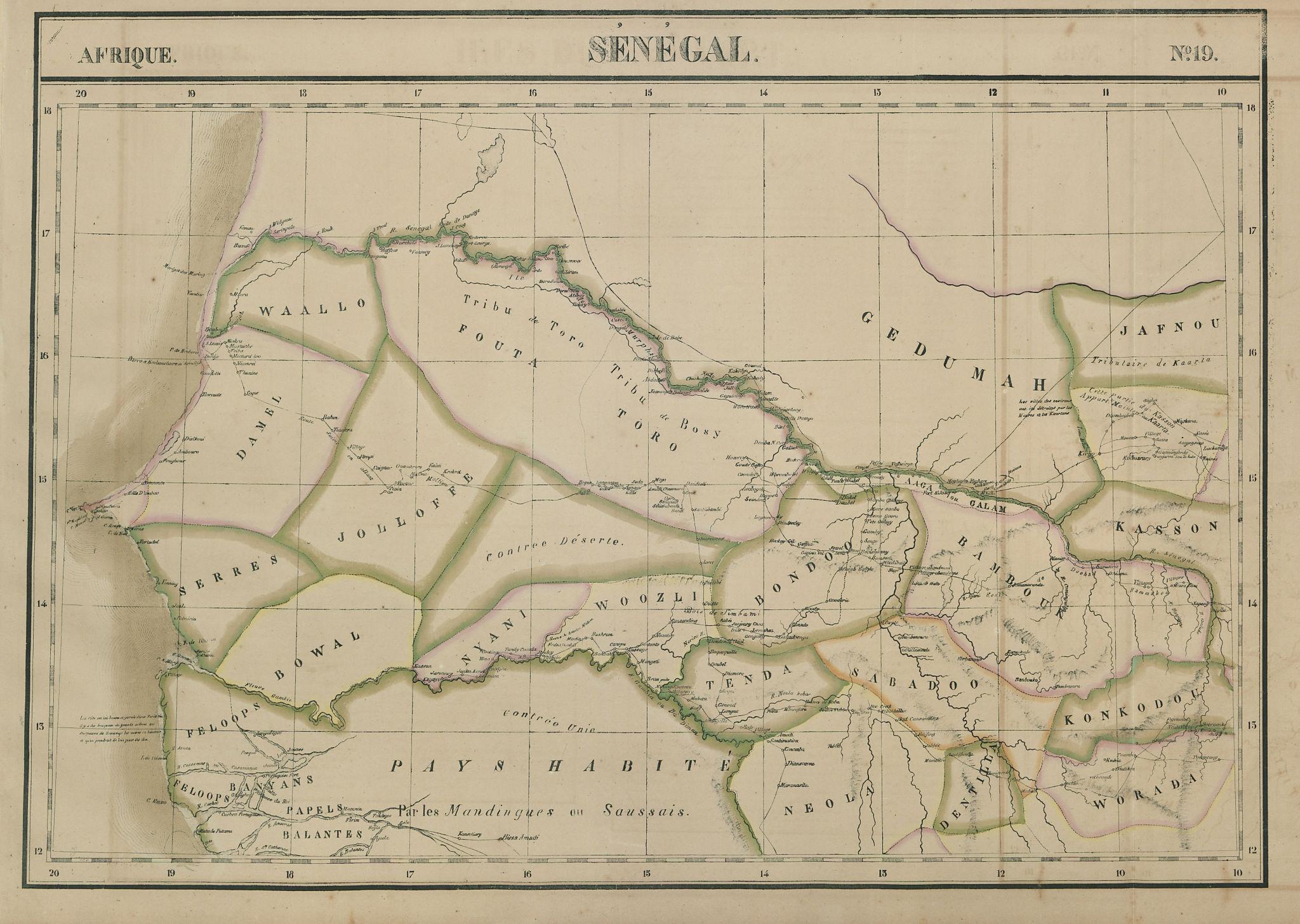 Afrique. Sénégal #19 Senegal, Gambia & southern Mauritania VANDERMAELEN 1827 map