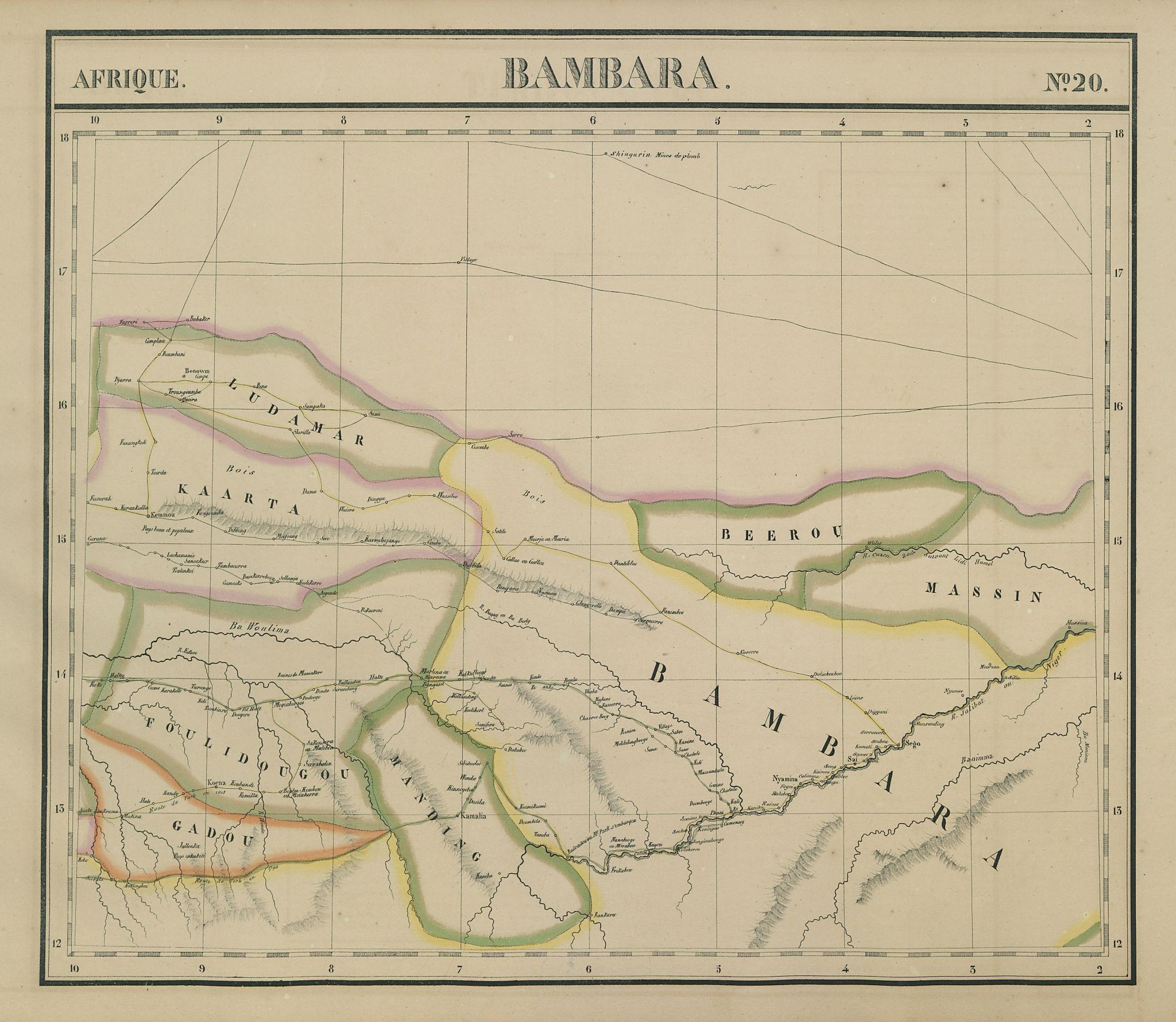Afrique. Bambara #20 Niger River. Western Mali. Mauritania VANDERMAELEN 1827 map