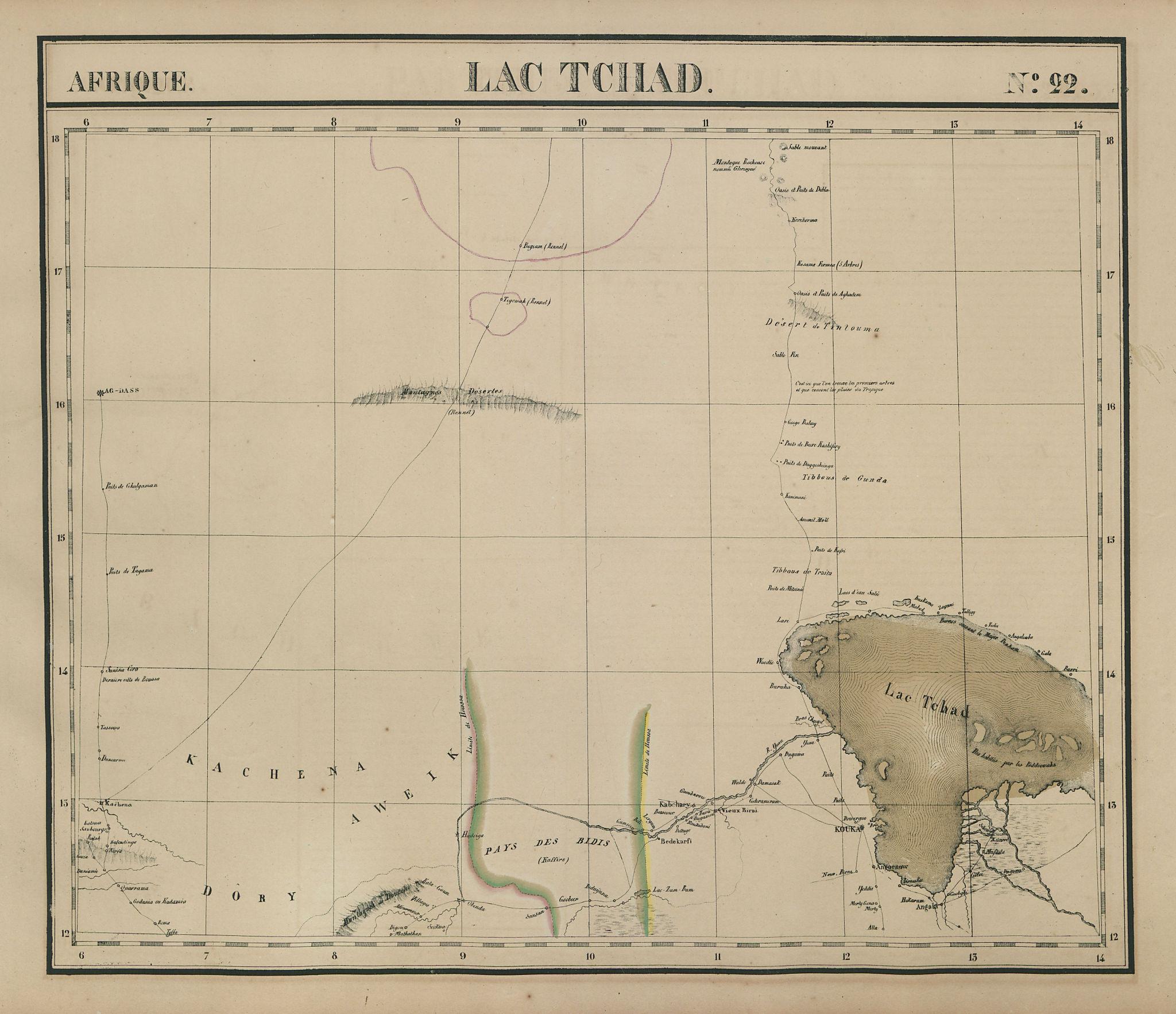Afrique. Lac Tchad #22. Lake Chad, S Niger & NE Nigeria. VANDERMAELEN 1827 map