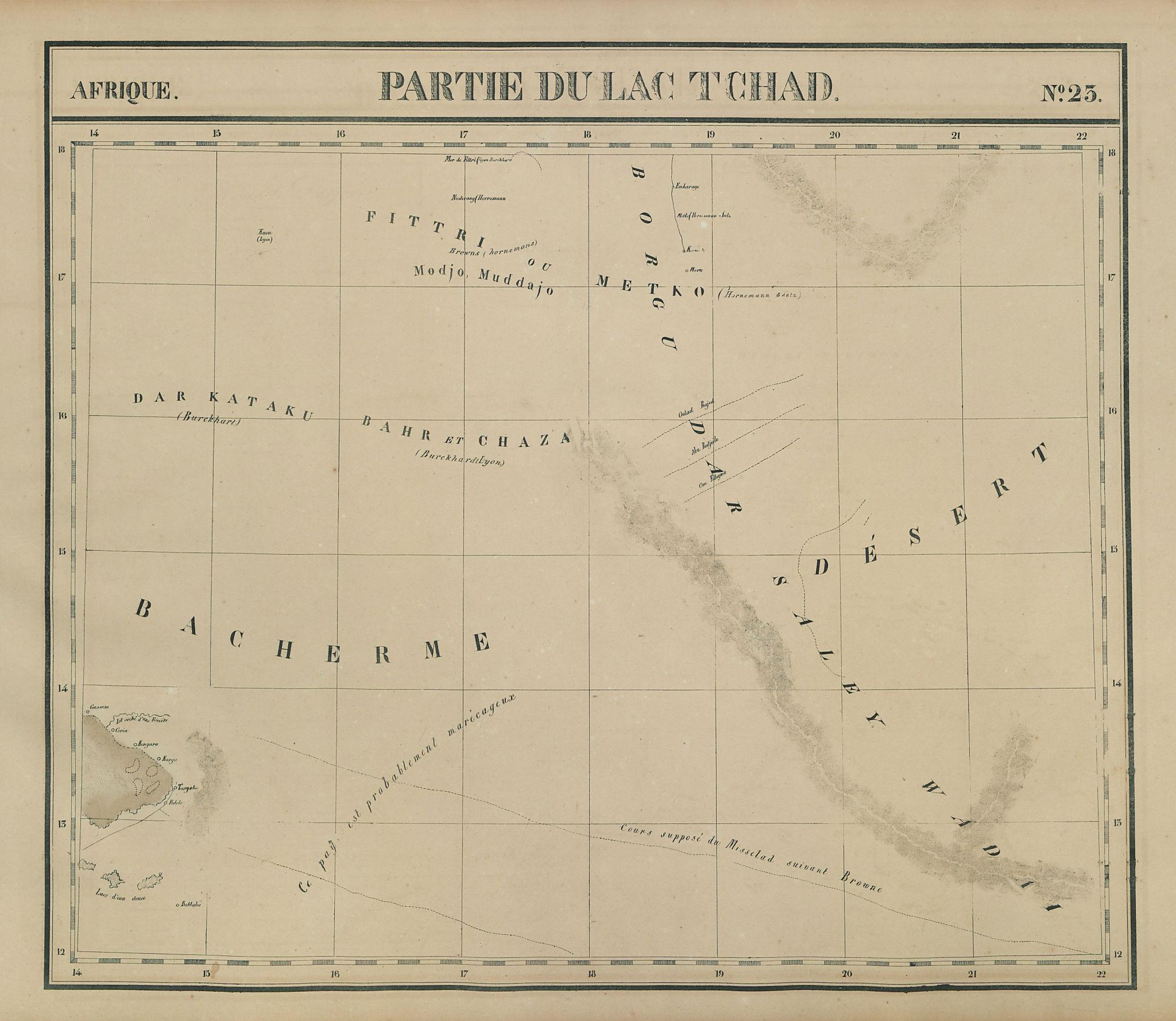 Afrique. Partie du Lac Tchad #23. Central Chad. VANDERMAELEN 1827 old map