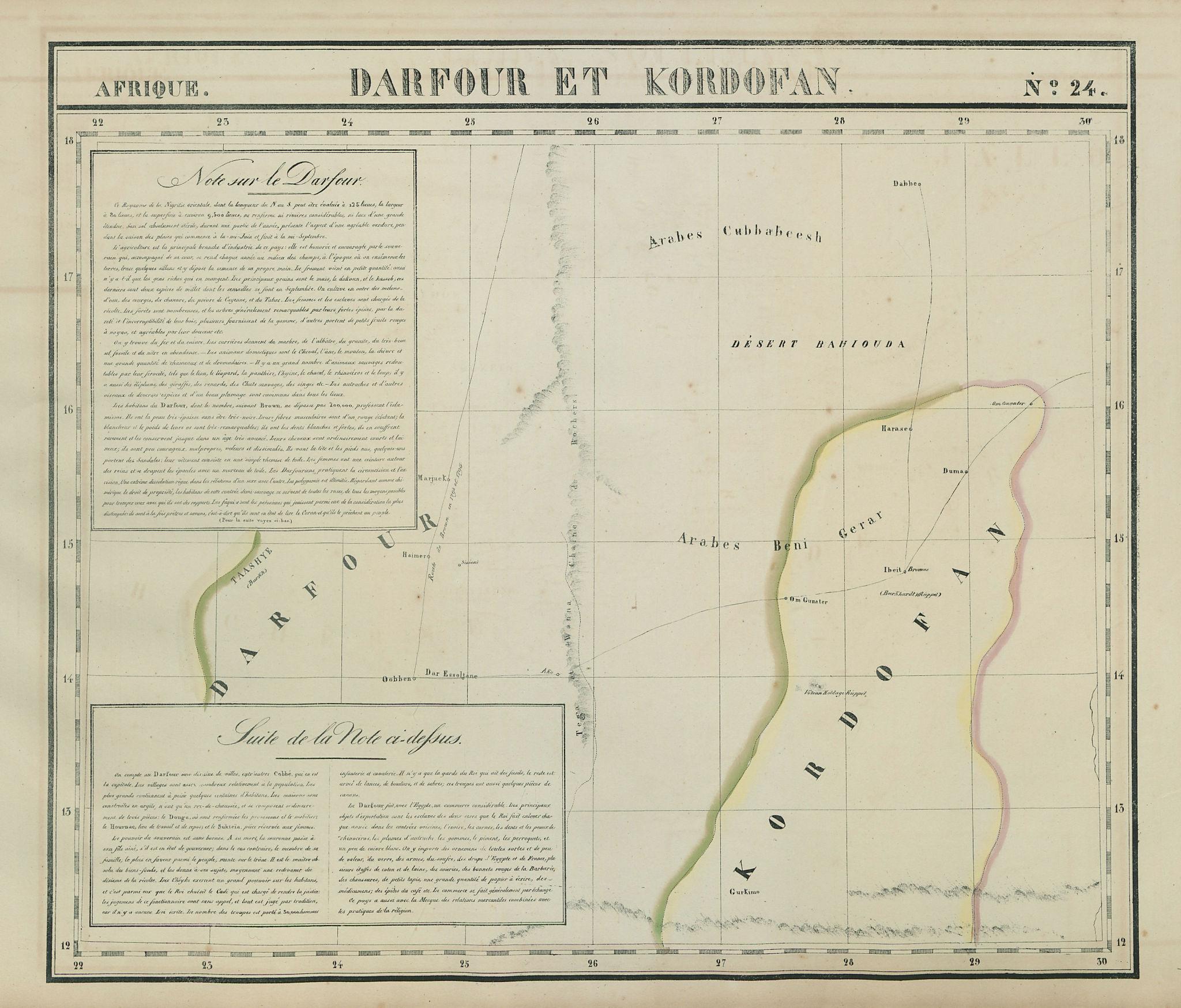 Afrique. Darfour et Kordofan #24. Western Sudan. Darfur. VANDERMAELEN 1827 map