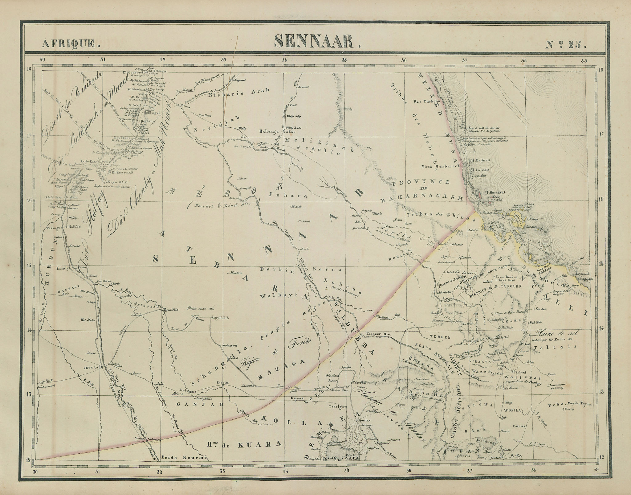 Afrique. Sennaar #25. SE Sudan, Eritrea & North Ethiopia. VANDERMAELEN 1827 map