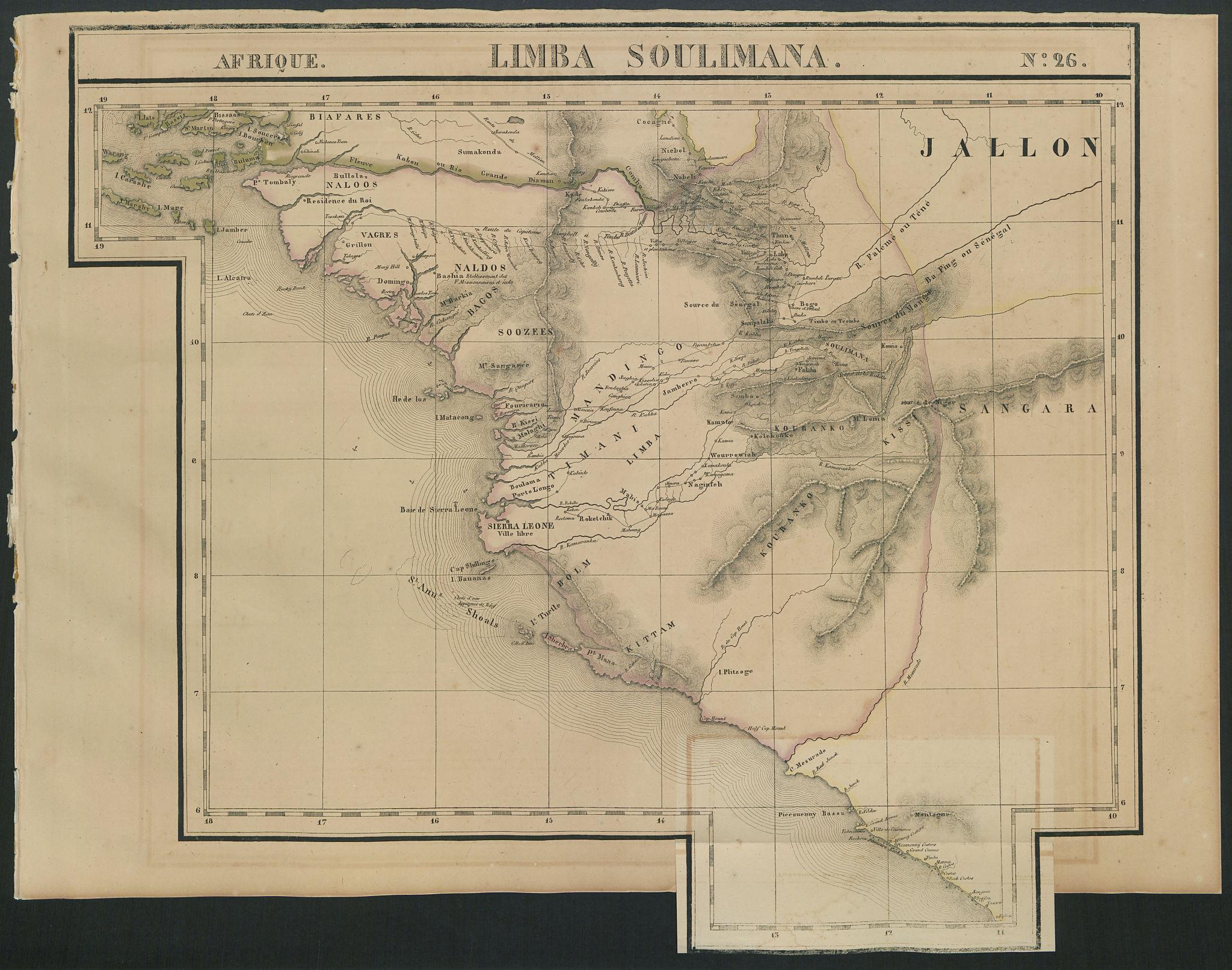 Afrique. Limba Soulimana #26. Guinea Sierra Leone Liberia. VANDERMAELEN 1827 map