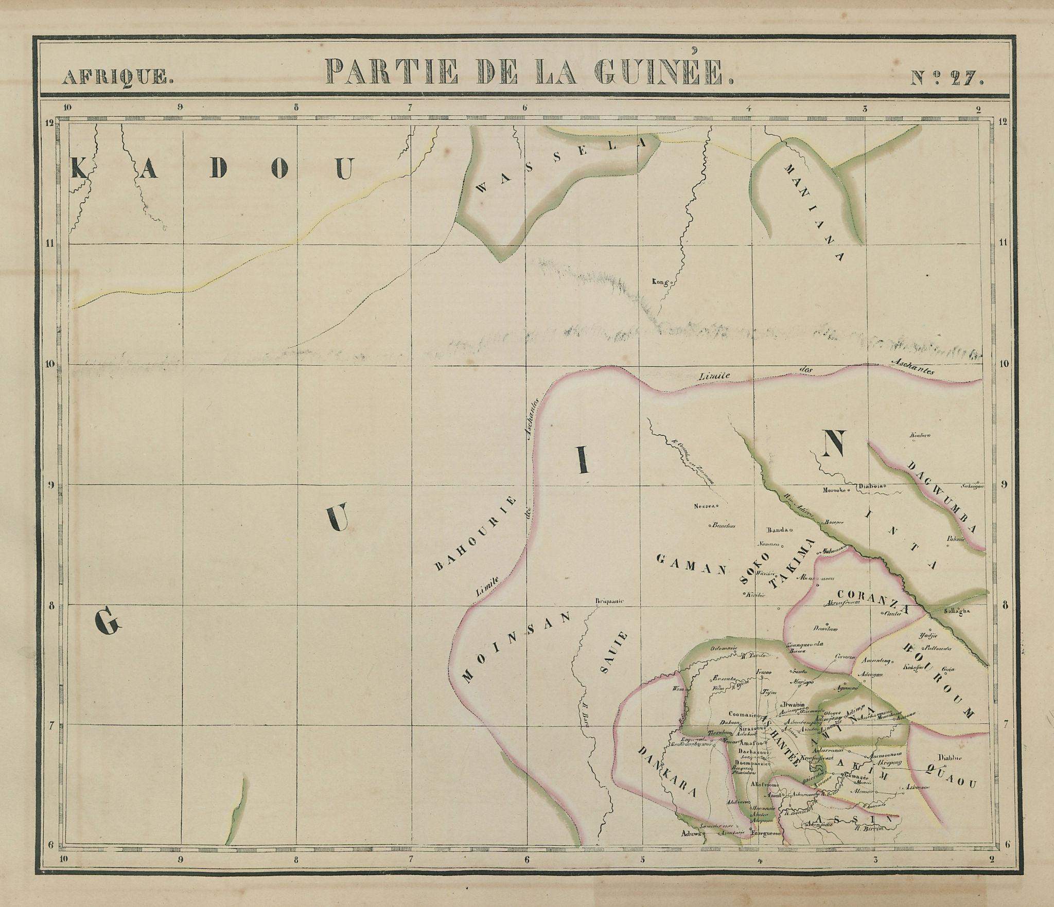 Afrique. Partie de la Guinée #27. Ghana. VANDERMAELEN 1827 old antique map