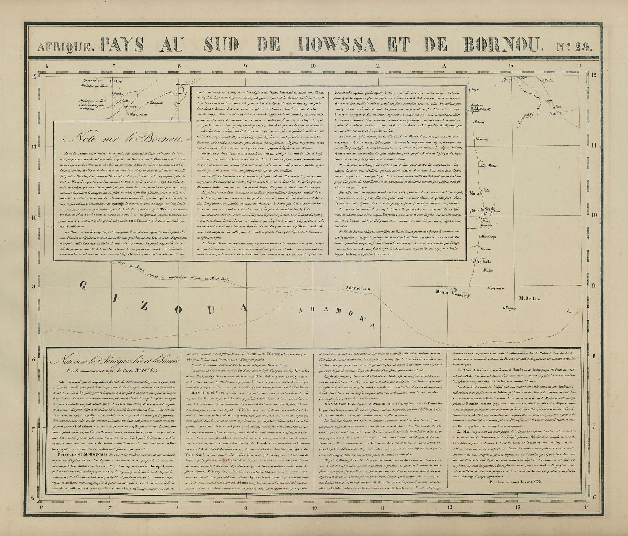 Afrique Pays au sud de Howssa & Bornou 29 Nigeria Cameroon VANDERMAELEN 1827 map