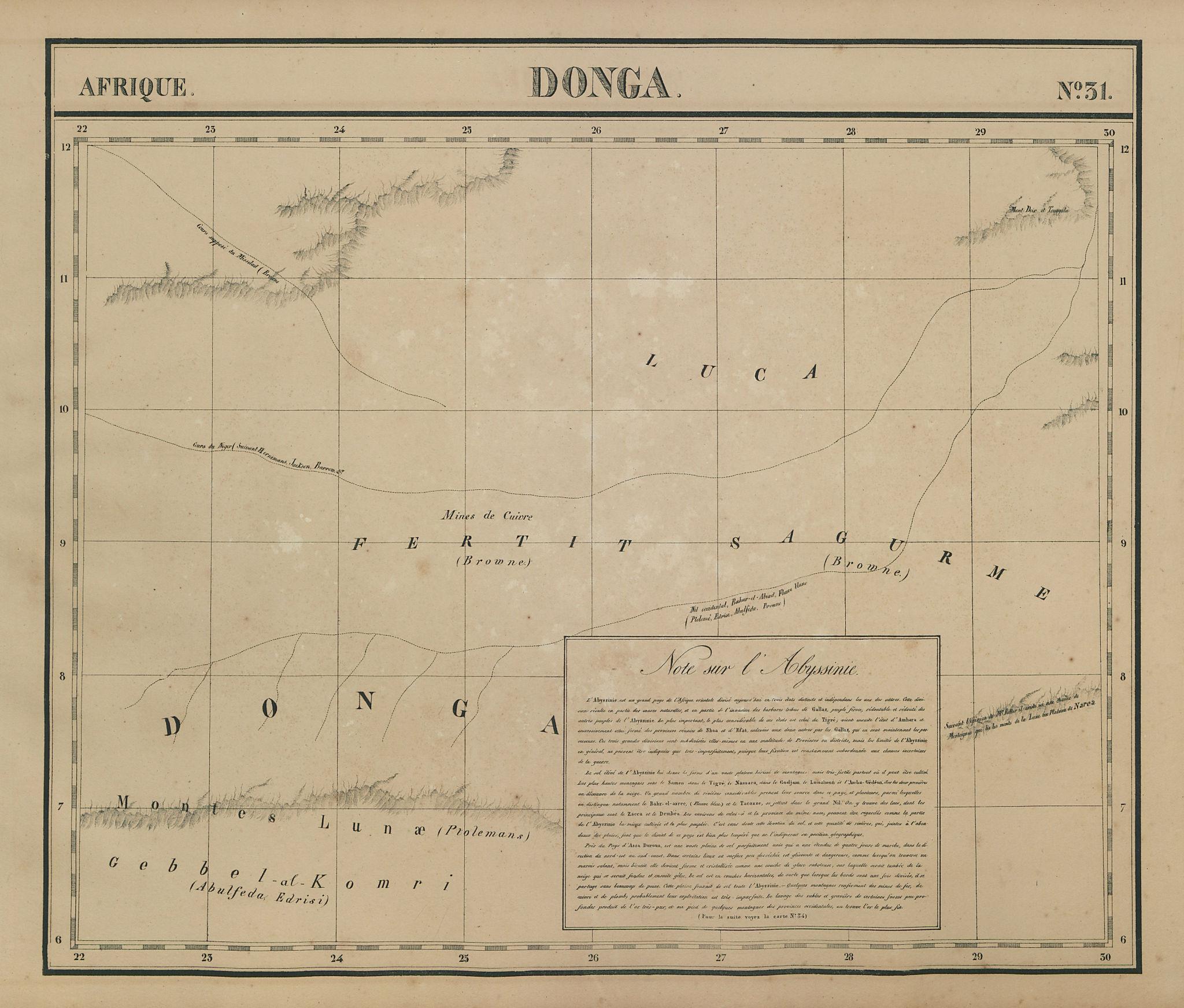 Afrique. Donga #31. South / Southern Sudan. White Nile. VANDERMAELEN 1827 map