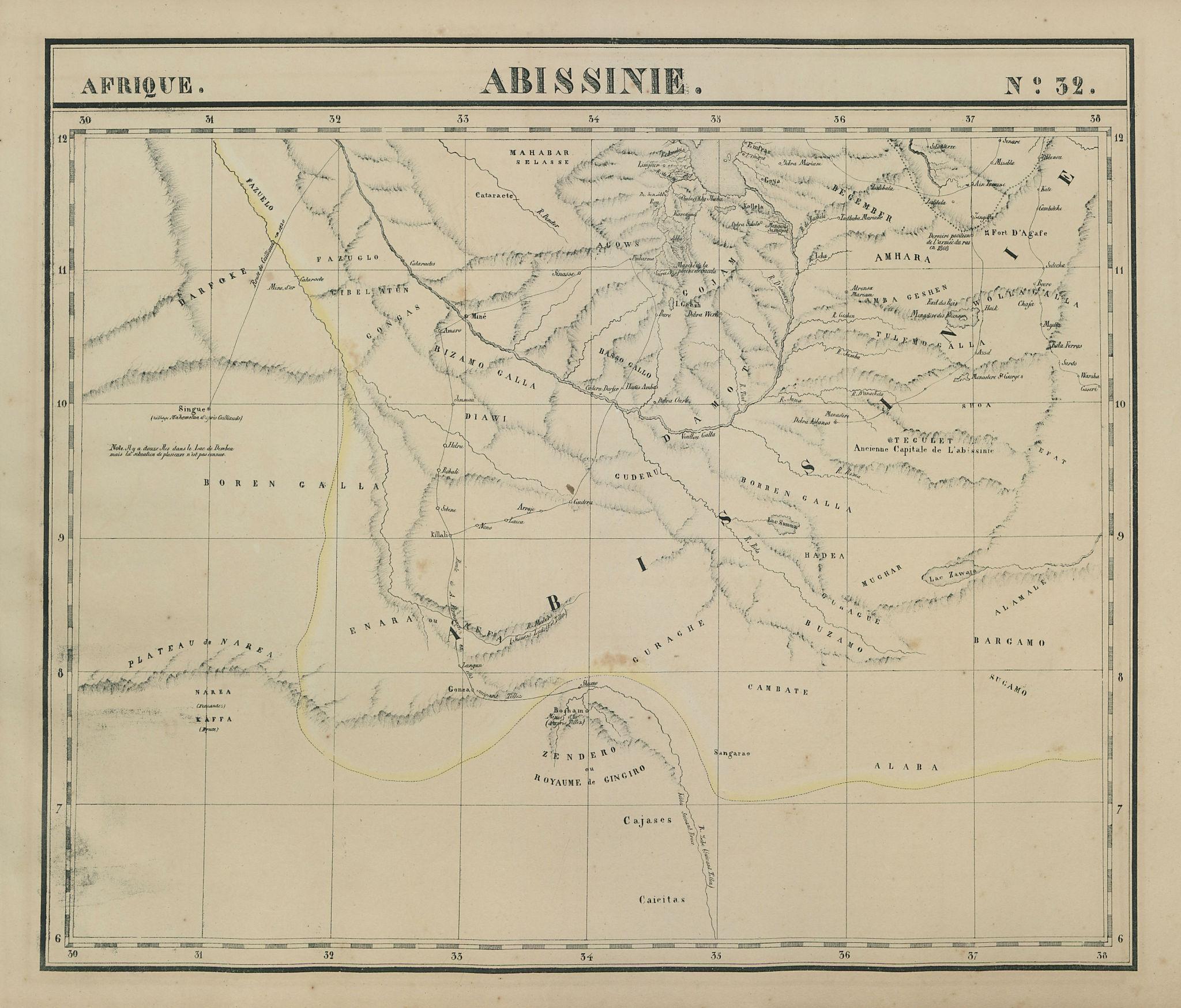 Afrique. Abissinie #32. Western Ethiopia. Blue Nile. VANDERMAELEN 1827 old map