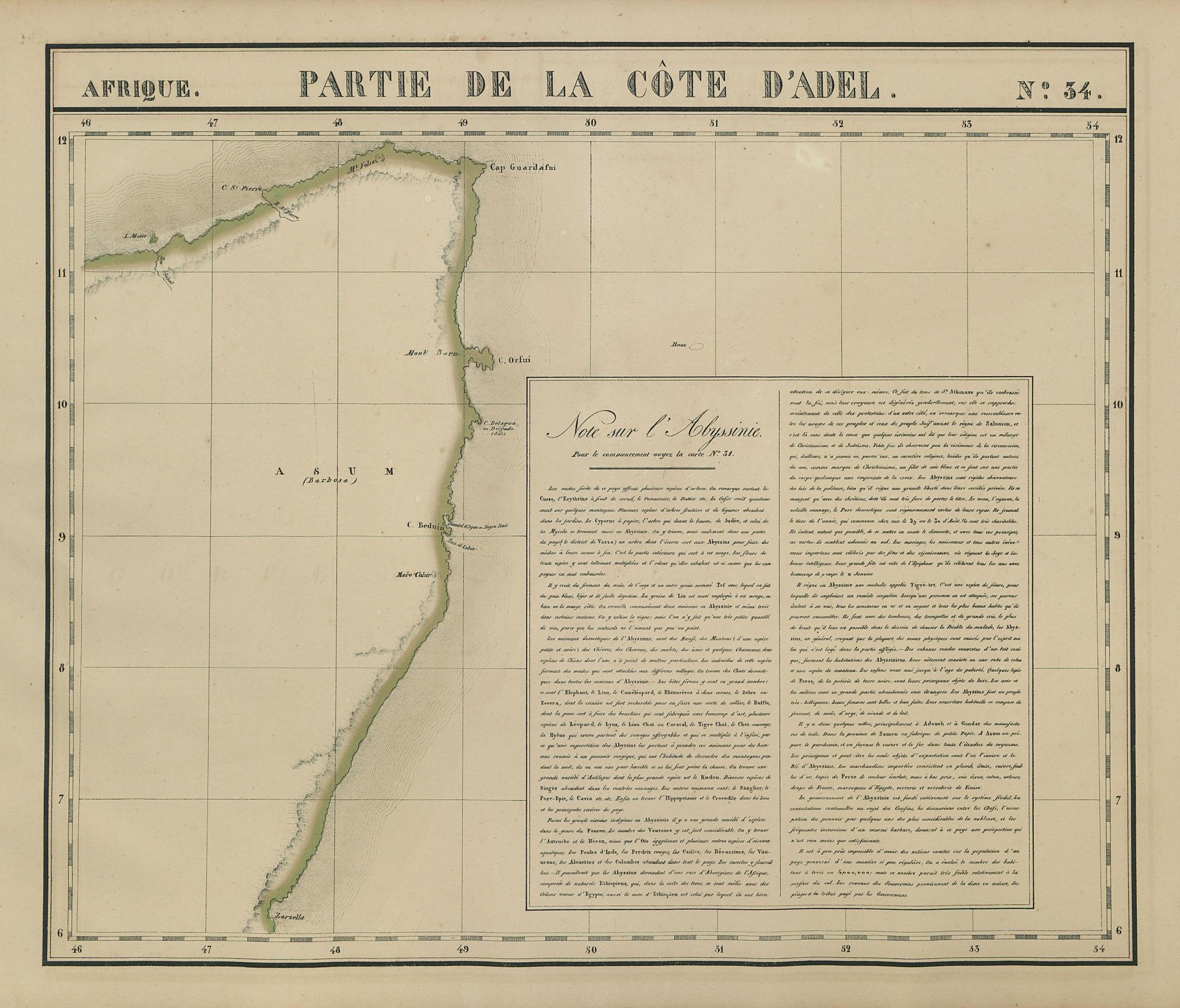 Afrique Partie de la Côte d'Adel 34 Somalia Horn of Africa VANDERMAELEN 1827 map