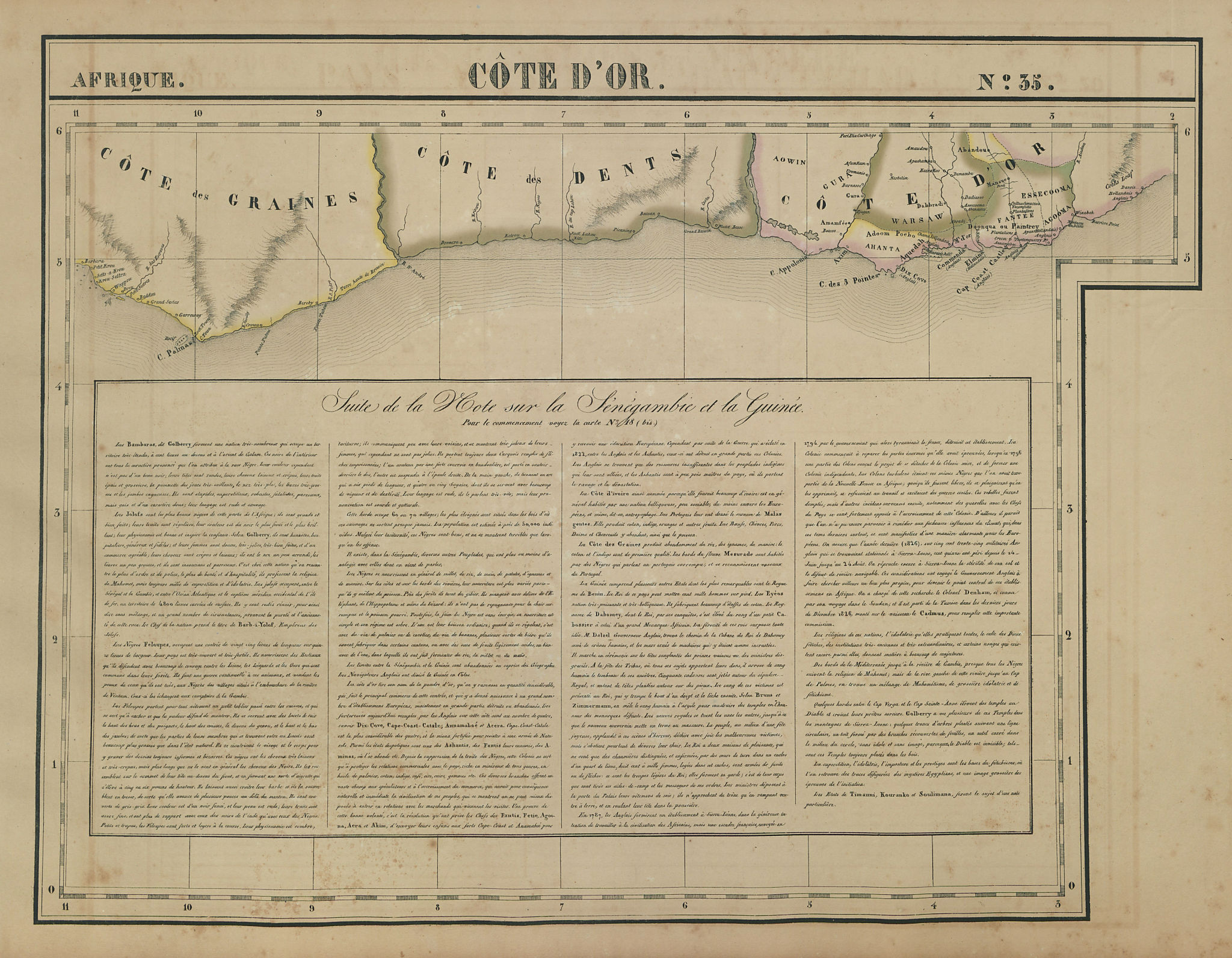 Afrique. Côte d'Or 35 Ivory Coast, Ghana & eastern Liberia VANDERMAELEN 1827 map
