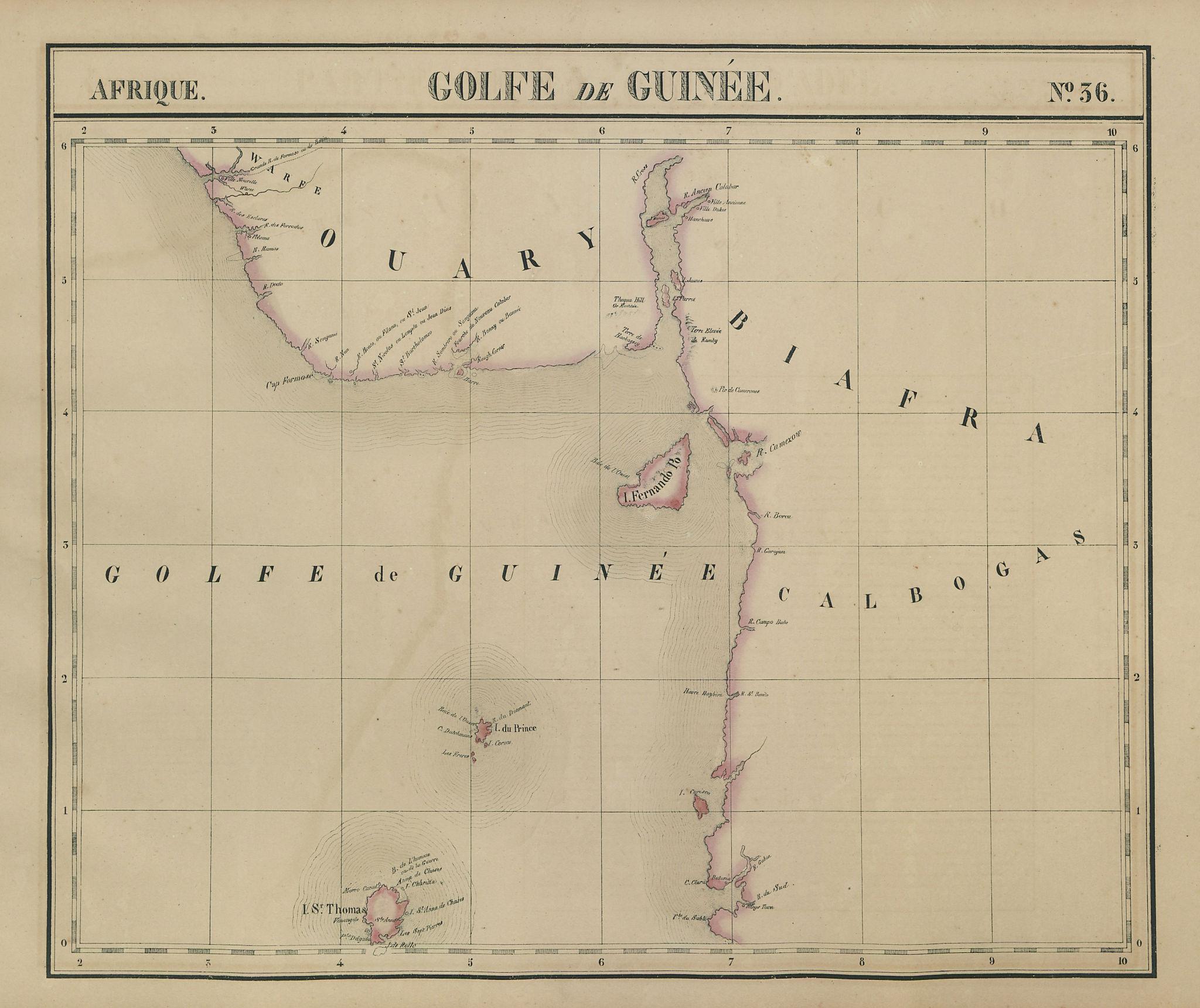 Afrique. Golfe du Guinée #36. Nigeria Cameroon Gabon. VANDERMAELEN 1827 map