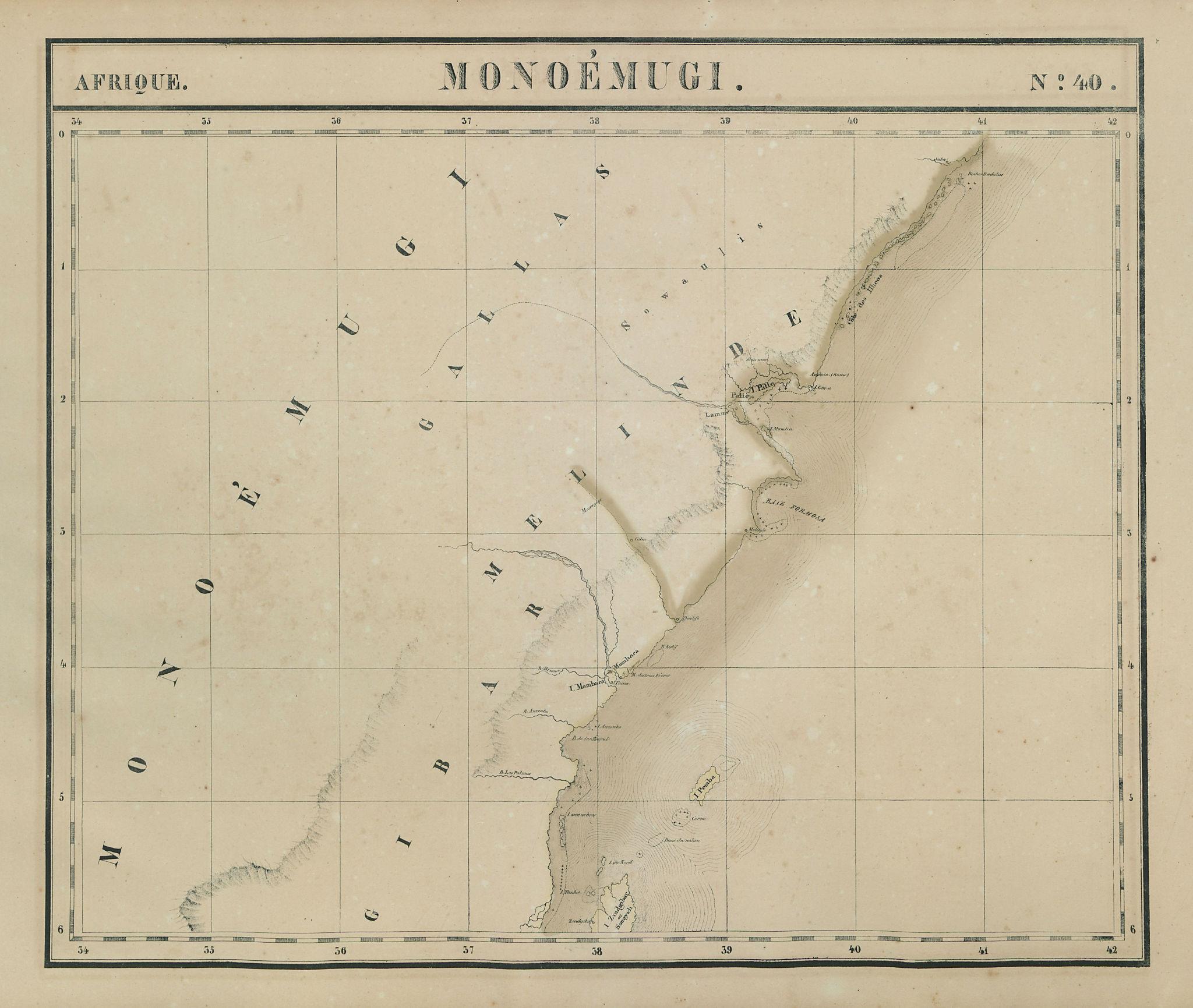 Afrique. Monoémugi #40 Kenya, Northern Tanzania & Zanzibar VANDERMAELEN 1827 map