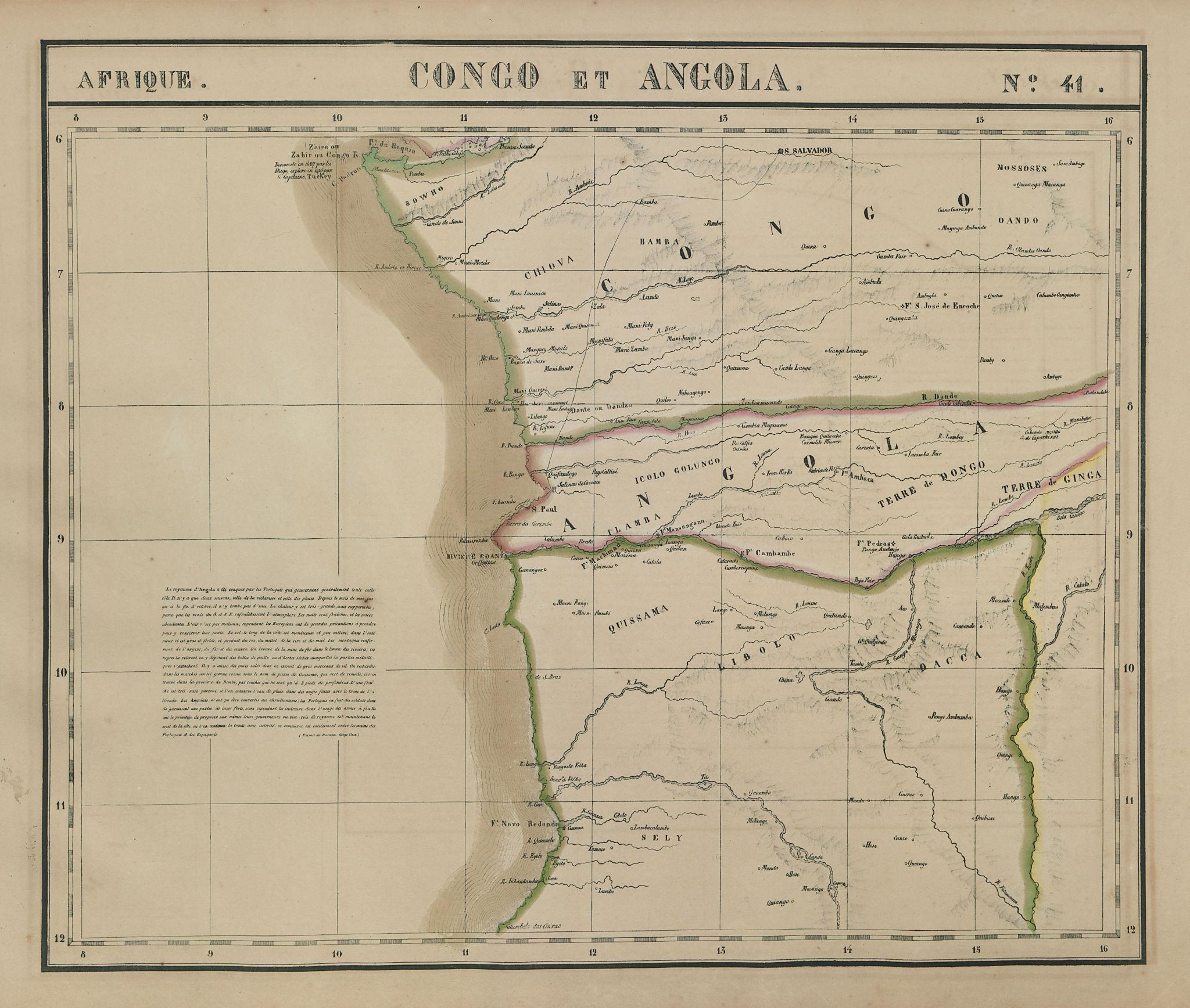 Afrique. Congo et Angola #41. Northern Angola. VANDERMAELEN 1827 old map