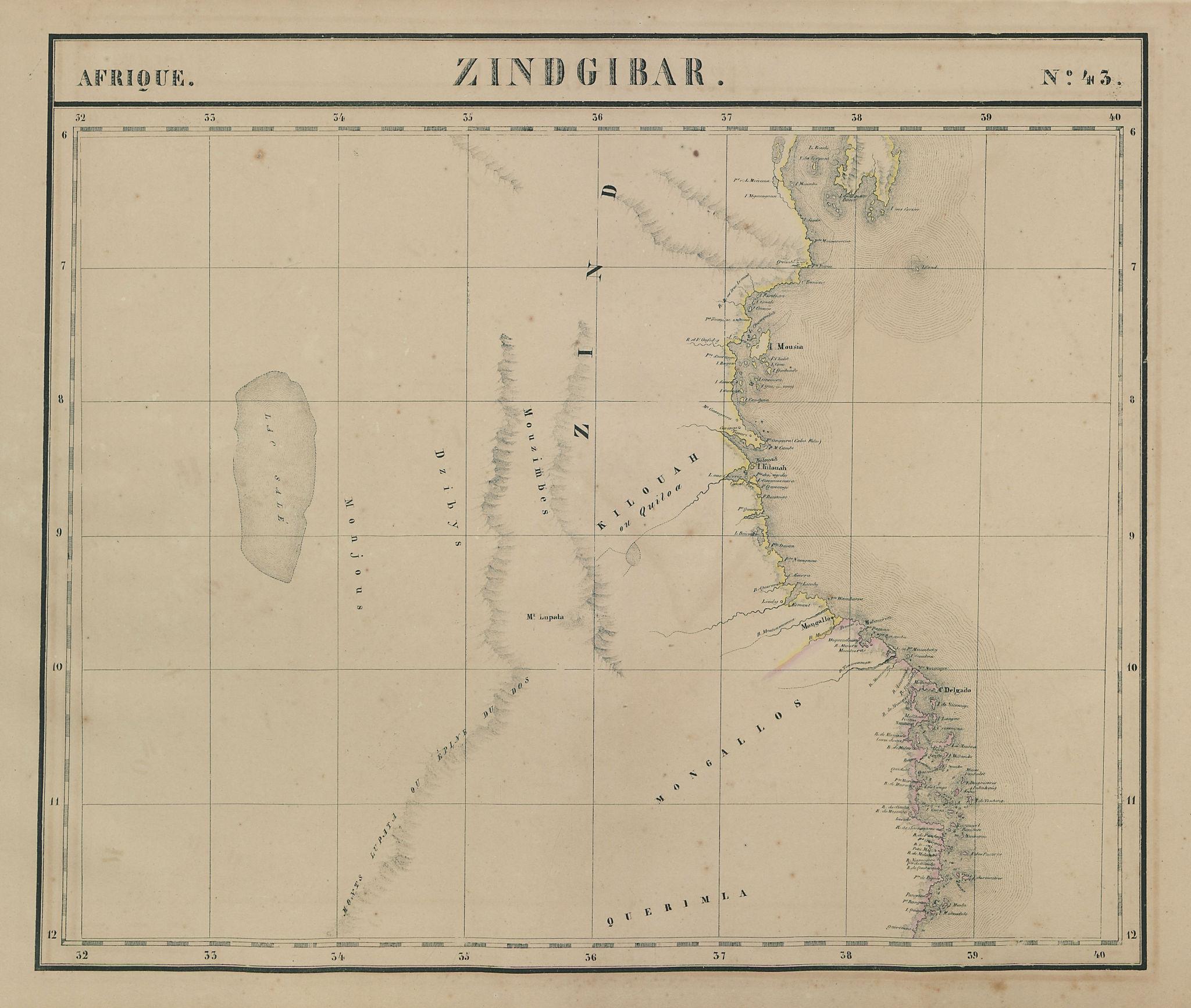 Afrique. Zindgibar #43. Tanzania & northern Mozambique. VANDERMAELEN 1827 map