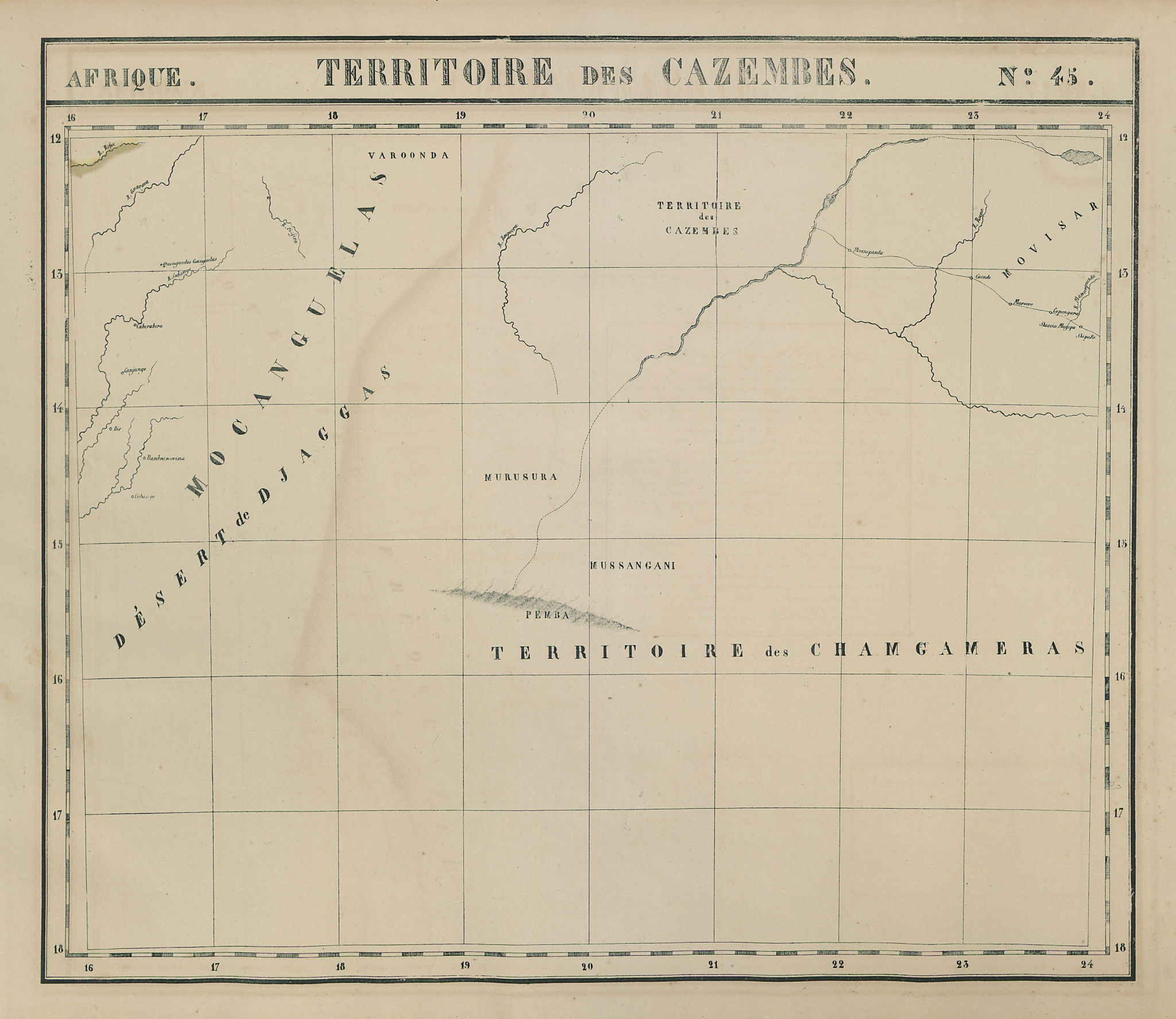 Afrique. Territoire des Cazembes #45 SE Angola West Zambia VANDERMAELEN 1827 map