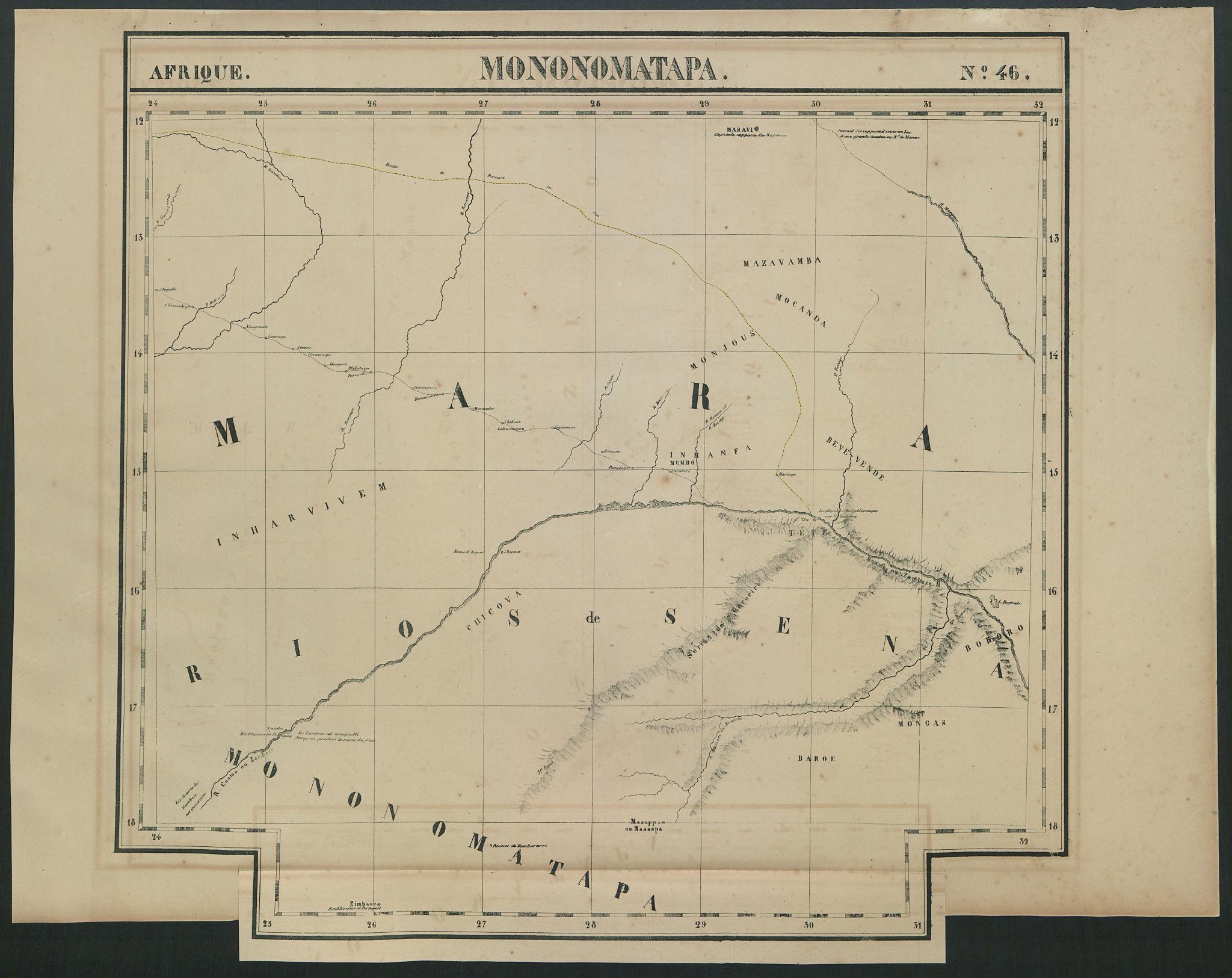 Afrique Mononomatapa 46 Zambezi Zambia Zimbabwe Mozambique VANDERMAELEN 1827 map