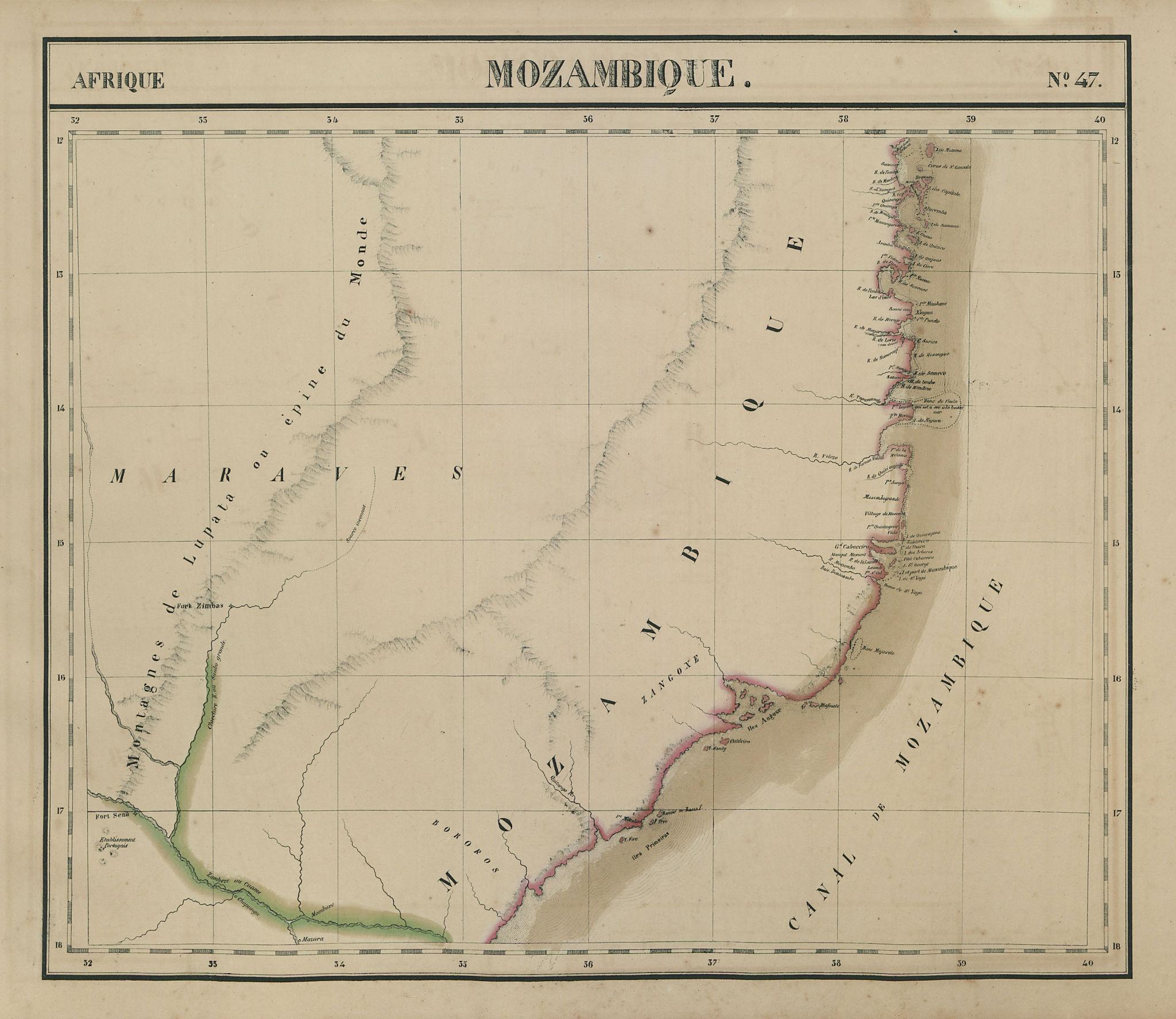 Afrique. Mozambique #47. Northern Mozambique. VANDERMAELEN 1827 old map
